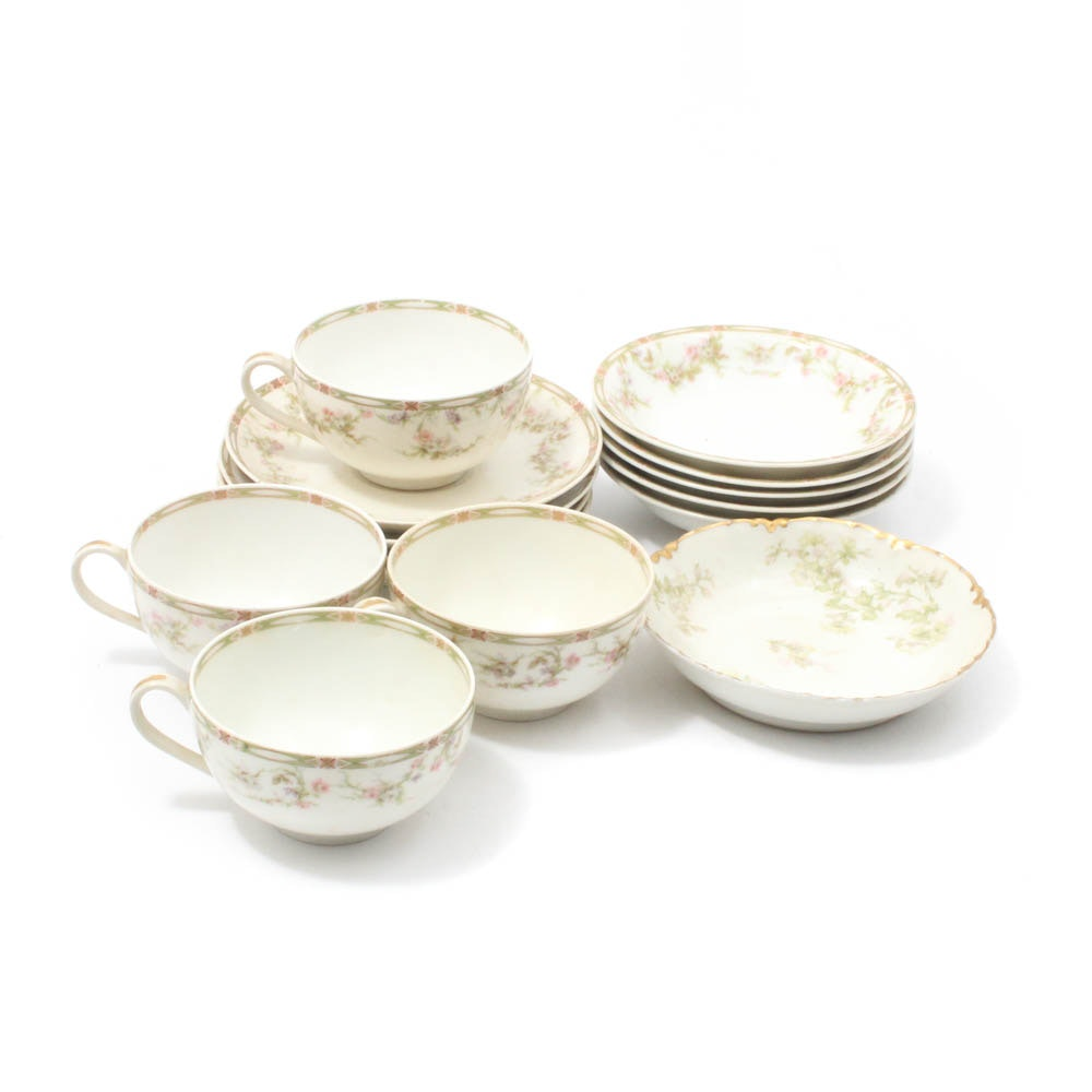 Haviland Porcelain Cups, Saucers, and Fruit Bowls, Early 20th Century