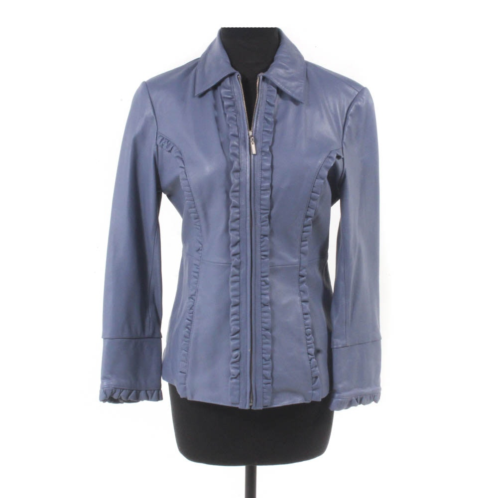 Pamela McCoy Ruffle-Edge Leather Jacket
