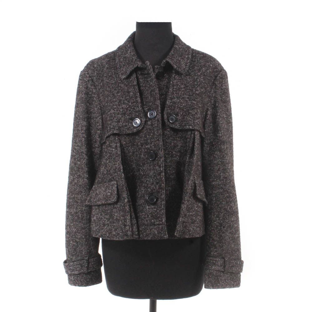 Michael Kors Wool and Silk Blend Button-Front Jacket
