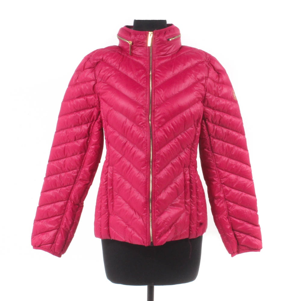 Michael Kors Fuchsia Packable Down Jacket with Hidden Hood
