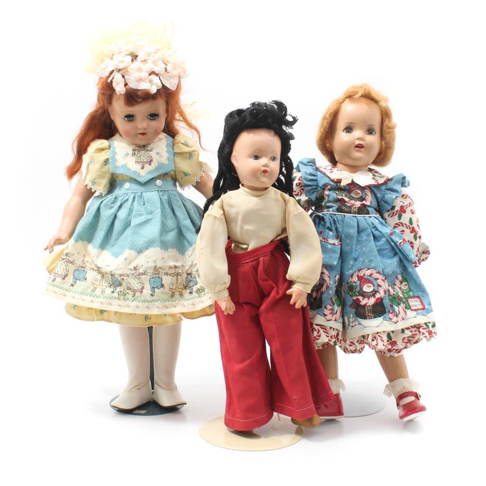 Vintage Dolls Featuring Ideal Toni Doll, circa 1950
