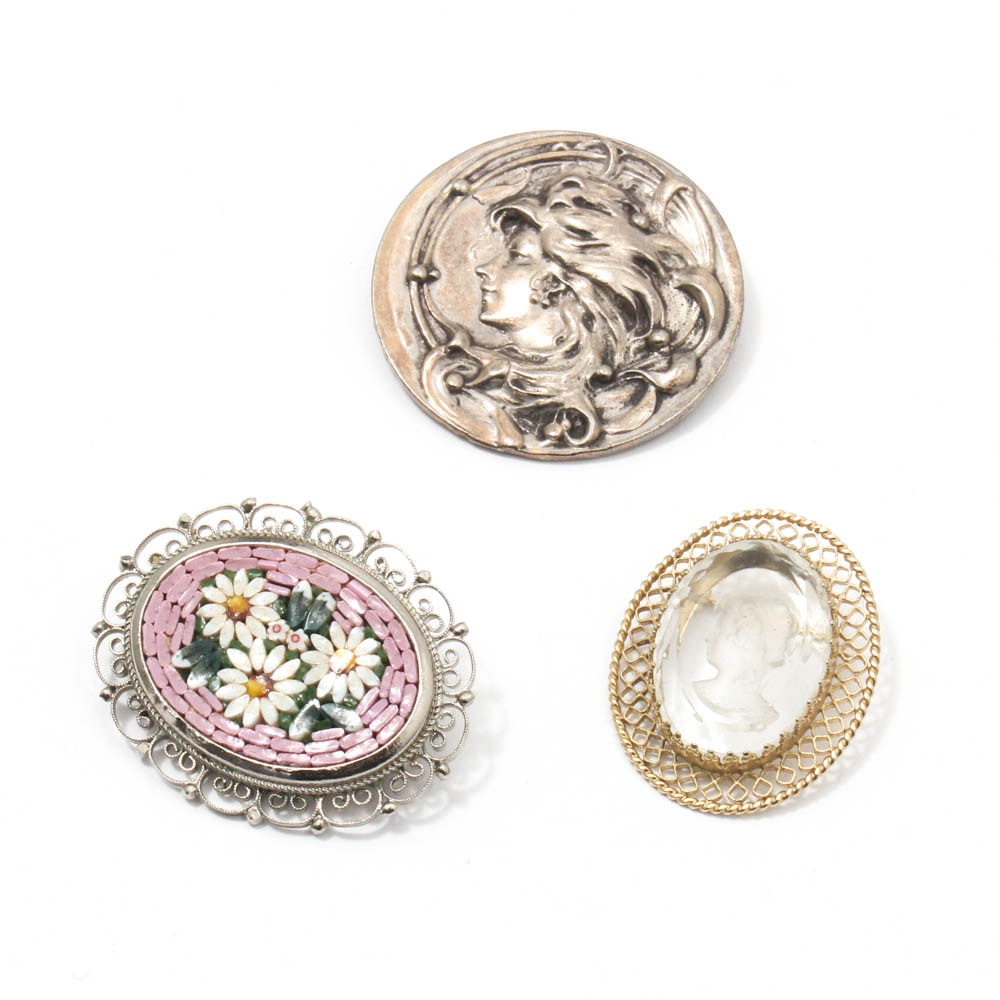 Vintage Micro Mosaic, Art Nouveau, and Cameo Brooches