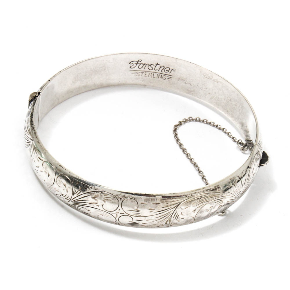 Vintage Forstner Etched Sterling Silver Hinged Bracelet