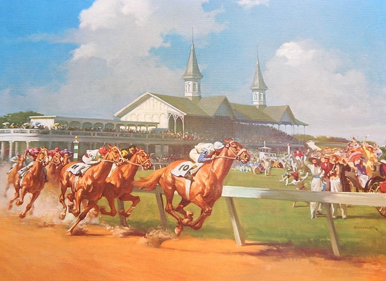 "Unframed 1963 Haddon Sundblom Offset Lithograph Print ""The Kentucky Derby"""