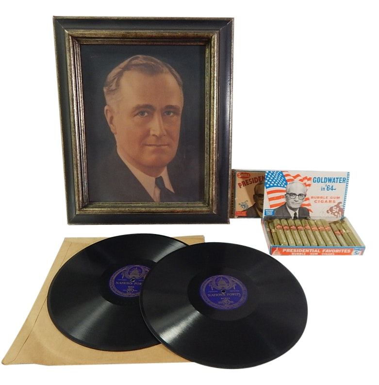 FDR Framed Chromolithograph, Goldwater Bubble Gum Cigars in Box, Records