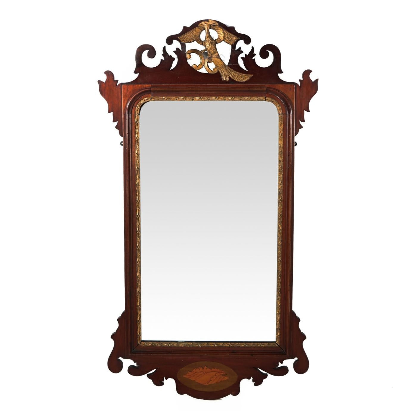 George III Style Mahogany, Parcel Gilt and Marquetry Mirror