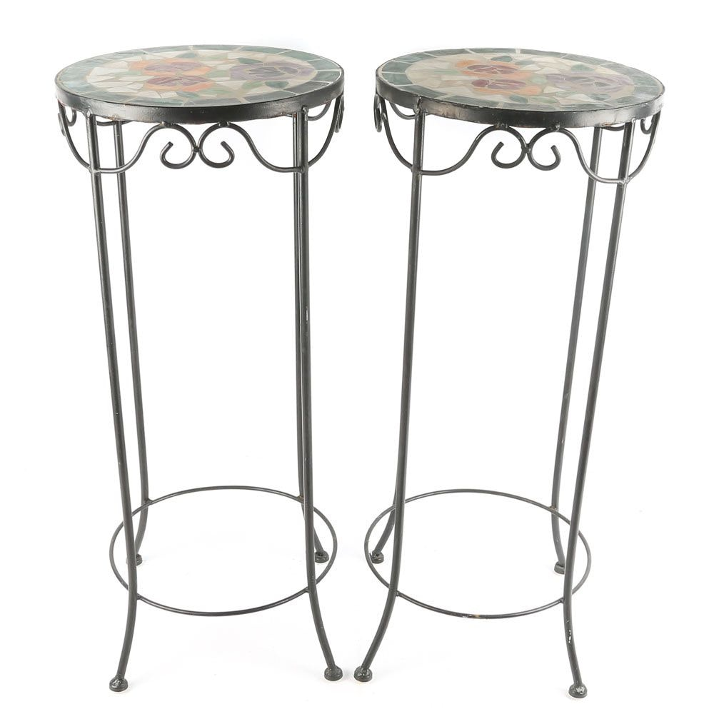 Metal Plant Stands with Floral Motif Mosaic Top, 21st Century