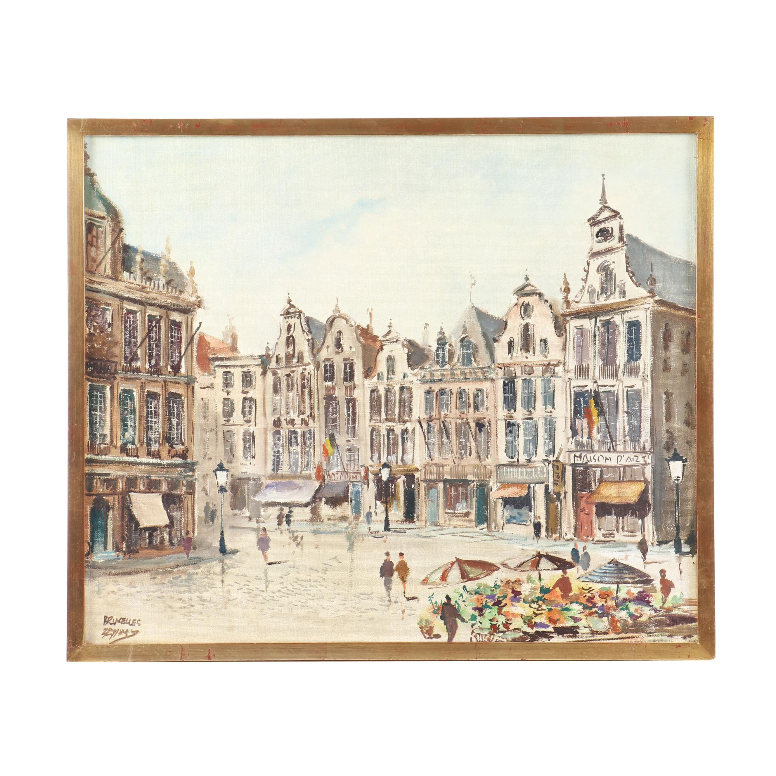 20th Century Brussels Street Scene Oil Painting