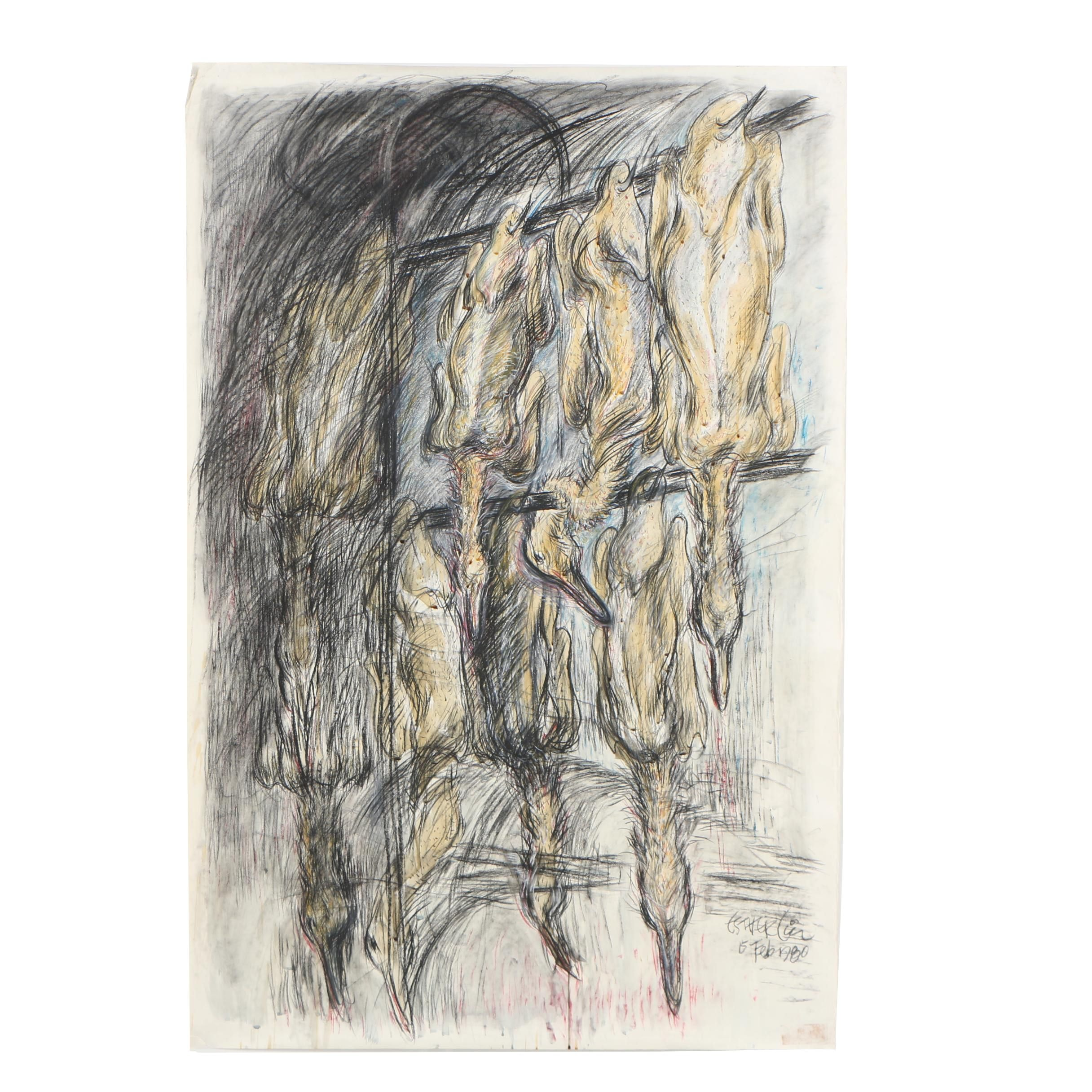 Esther Liu 1980 Pastel Drawing