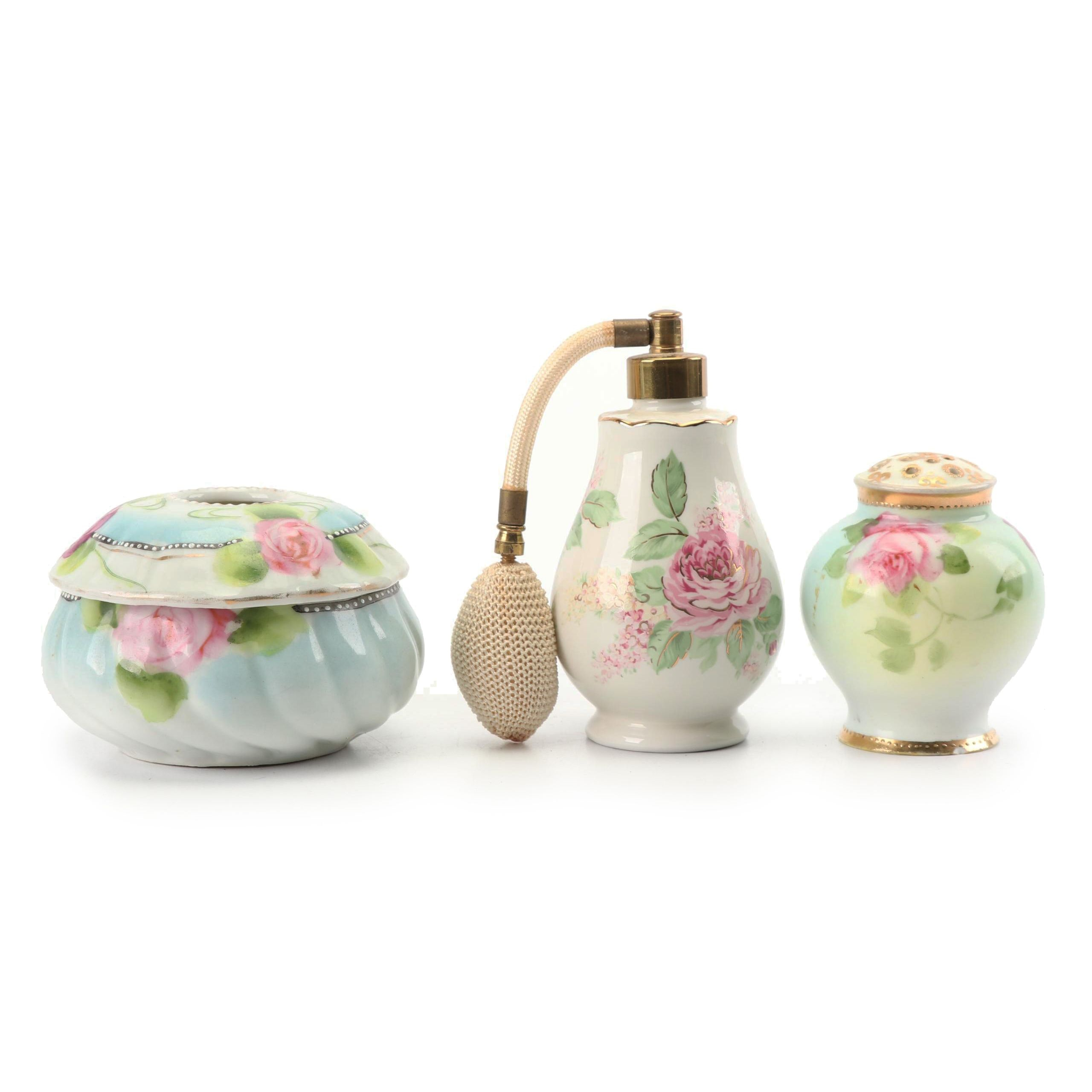 Nippon Hand-Painted Hair Receiver with Hat Pin Holder and Perfume Bottle