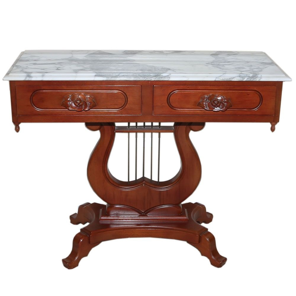 Victorian Style Mahogany Lyre Base Marble Topped Entry Table, 20th Century