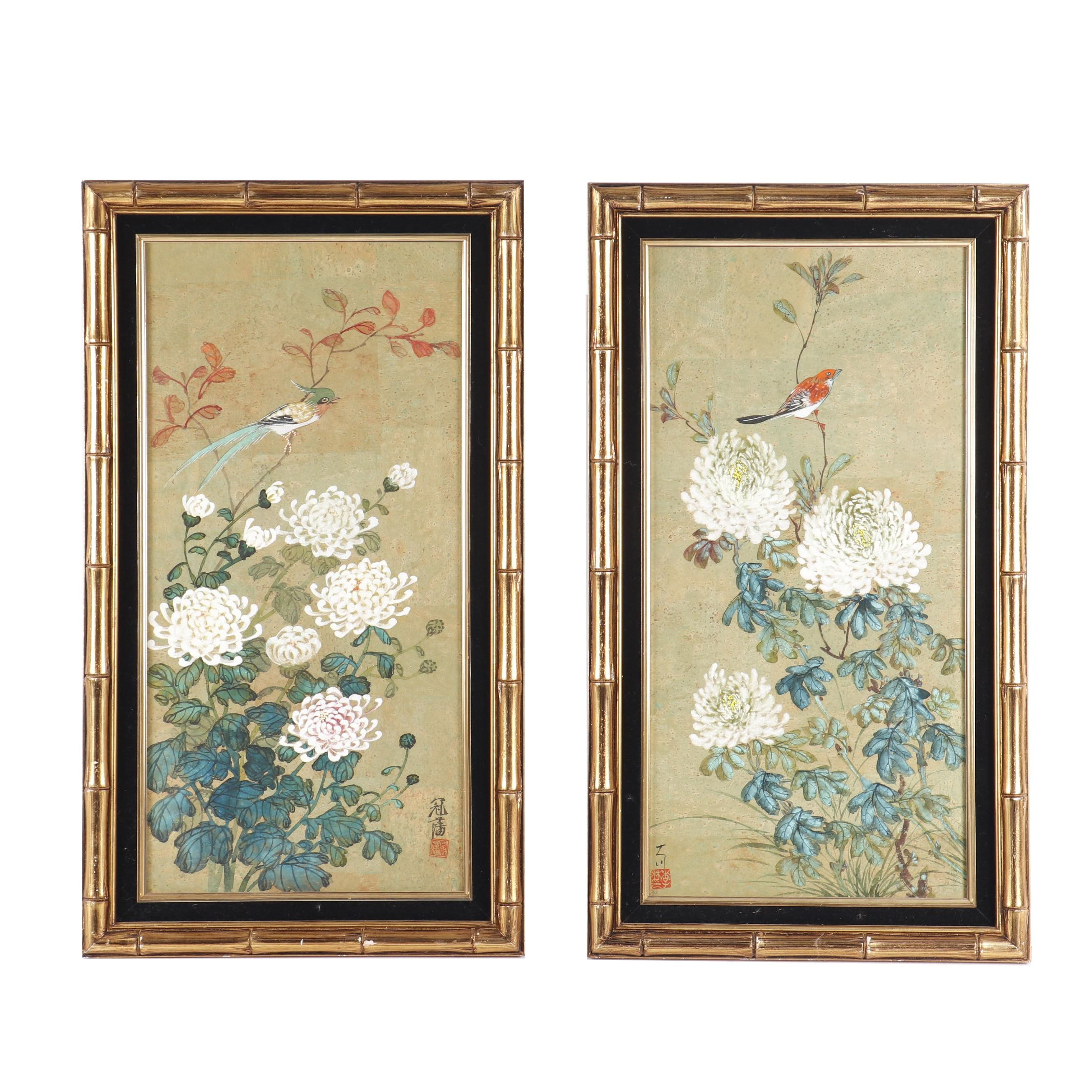 Chinese Flower and Bird Casein Paintings on Cork