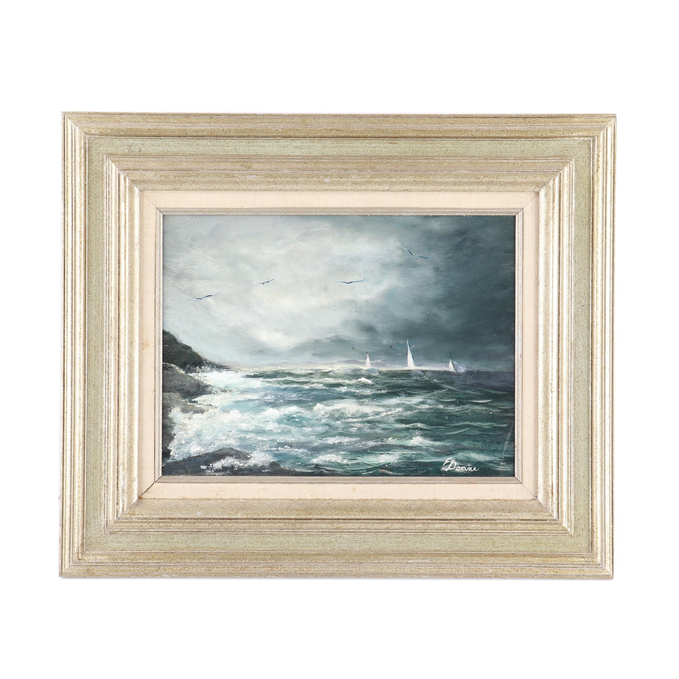 20th Century Oil Painting of Ships at Sea