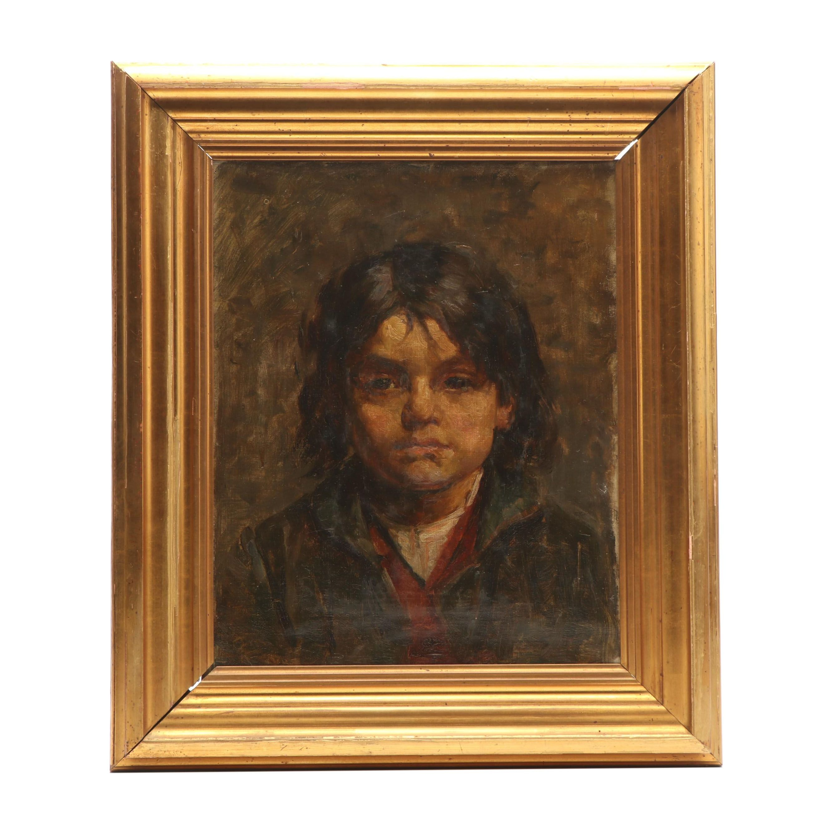 19th Century Danish Portrait Oil Painting