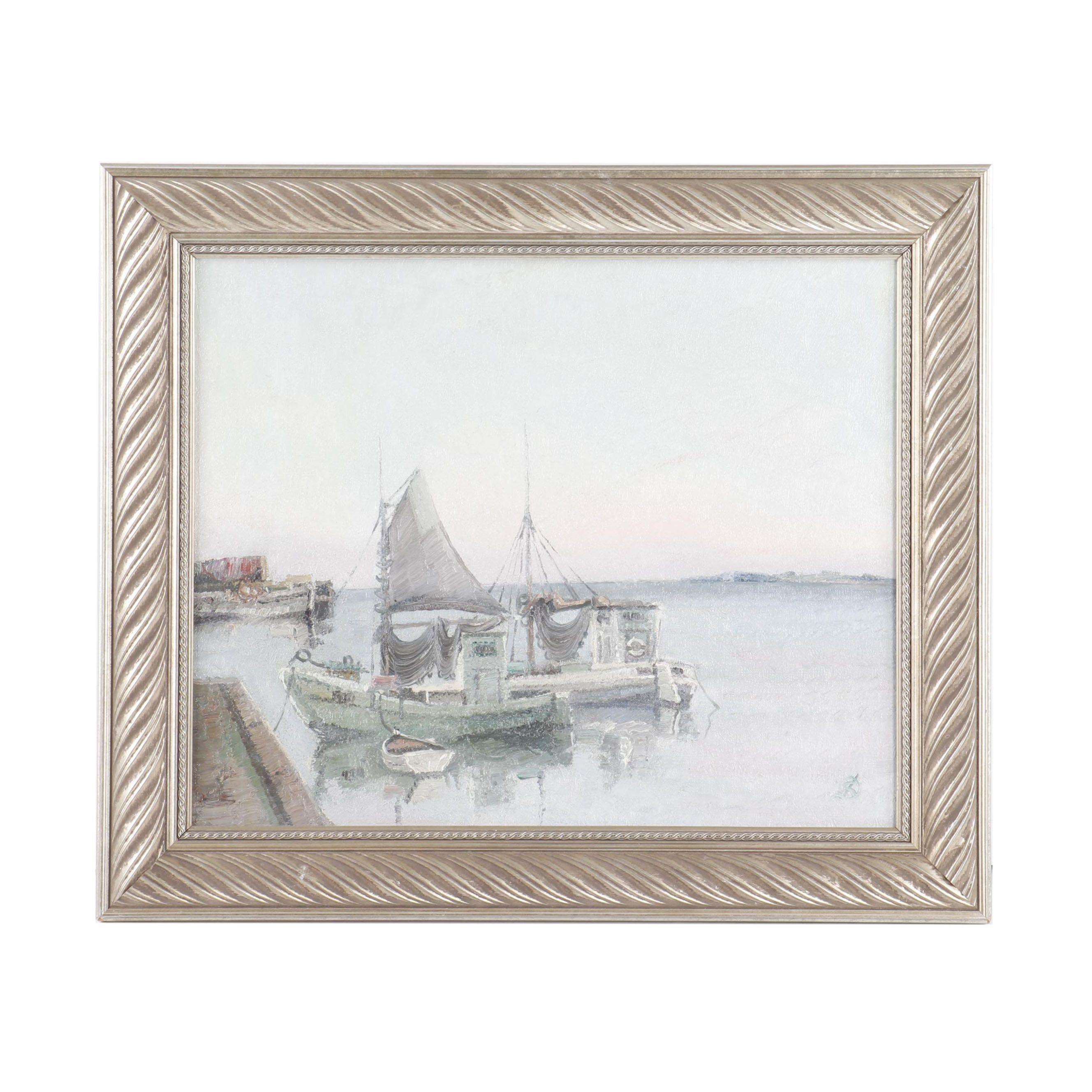 Jens Sinding Christensen Oil Painting of Harbor at Dusk