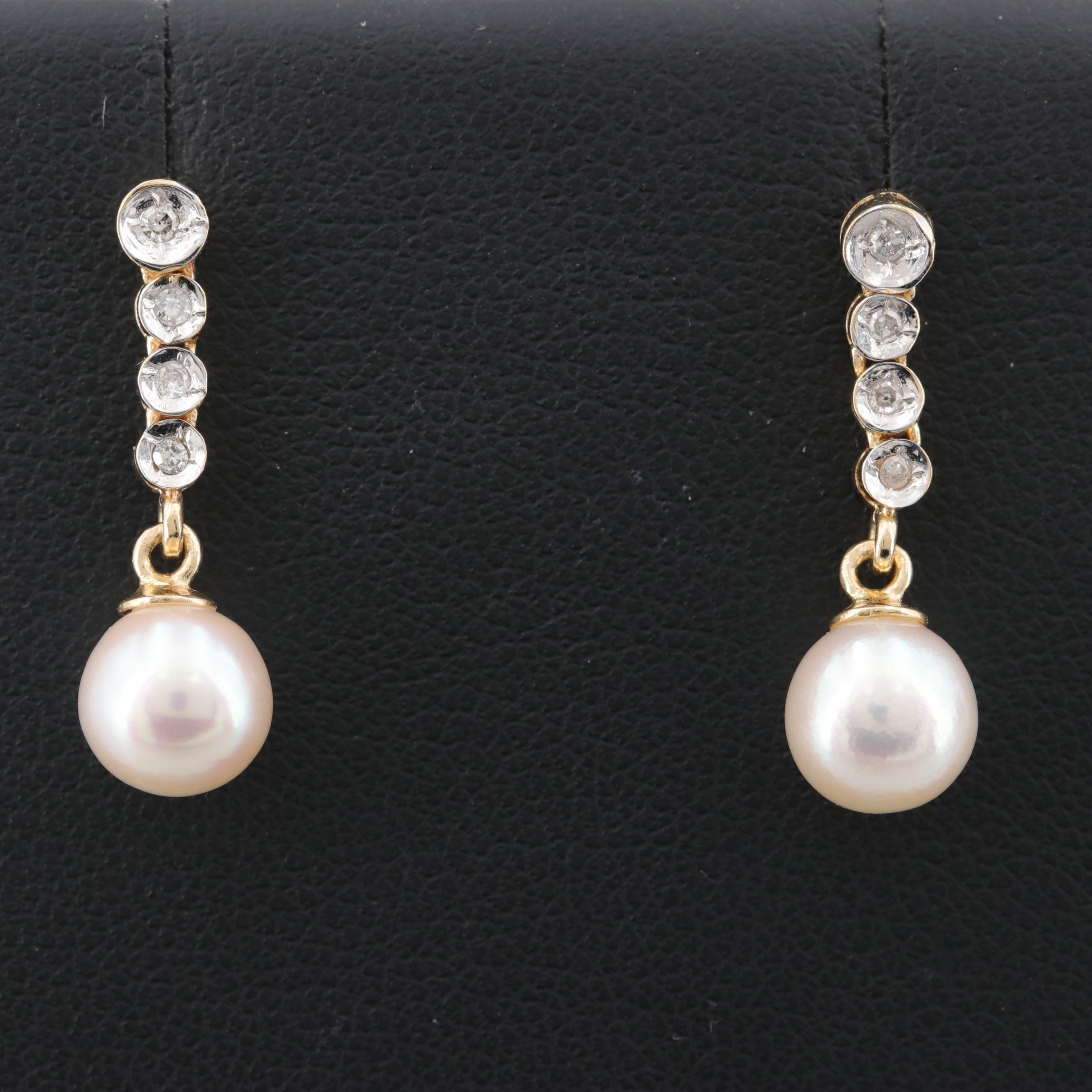 14K Yellow Gold Cultured Pearl and Diamond Dangle Earrings