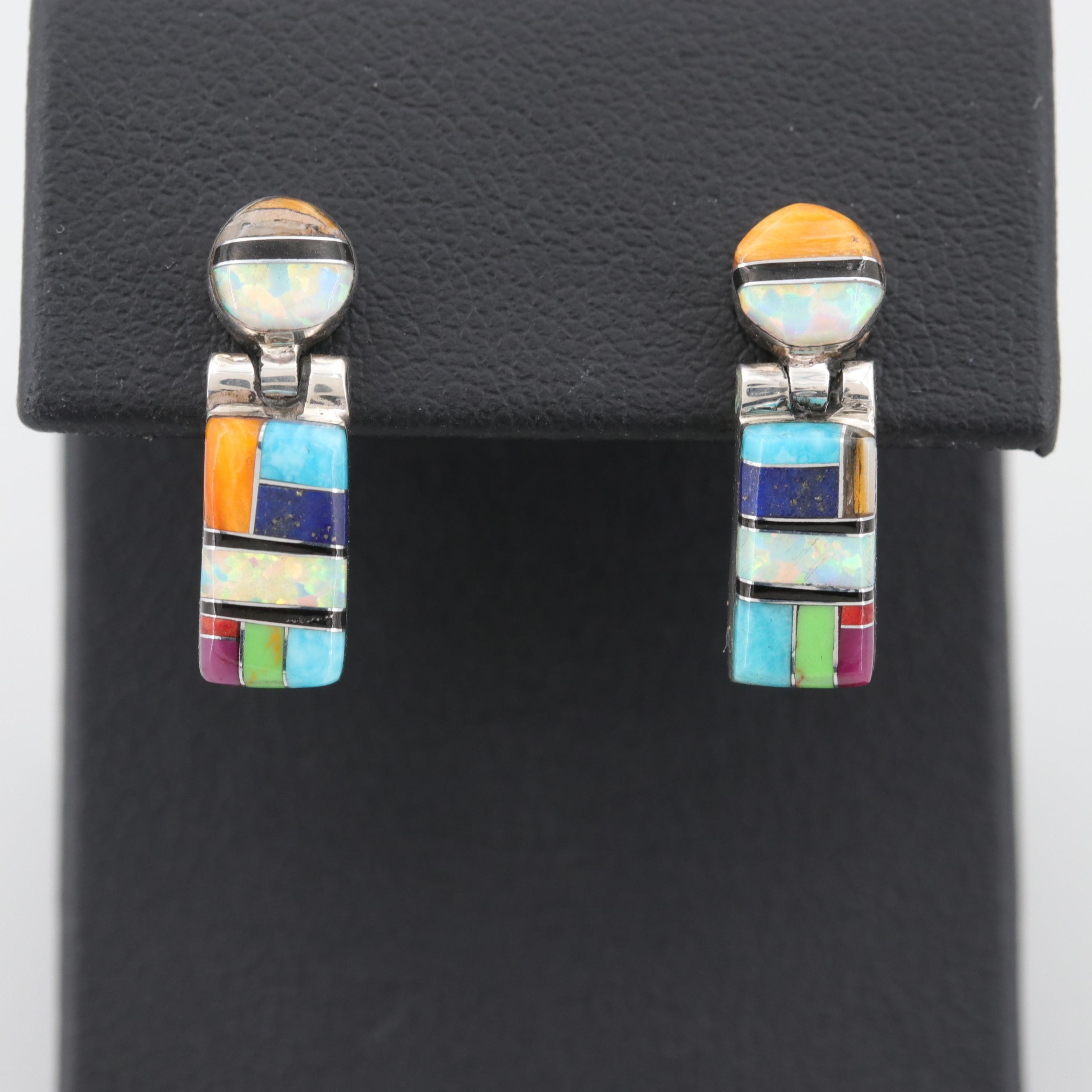 Sterling Silver Turquoise, Lapis Lazuli, and Synthetic Opal Dangle Earrings