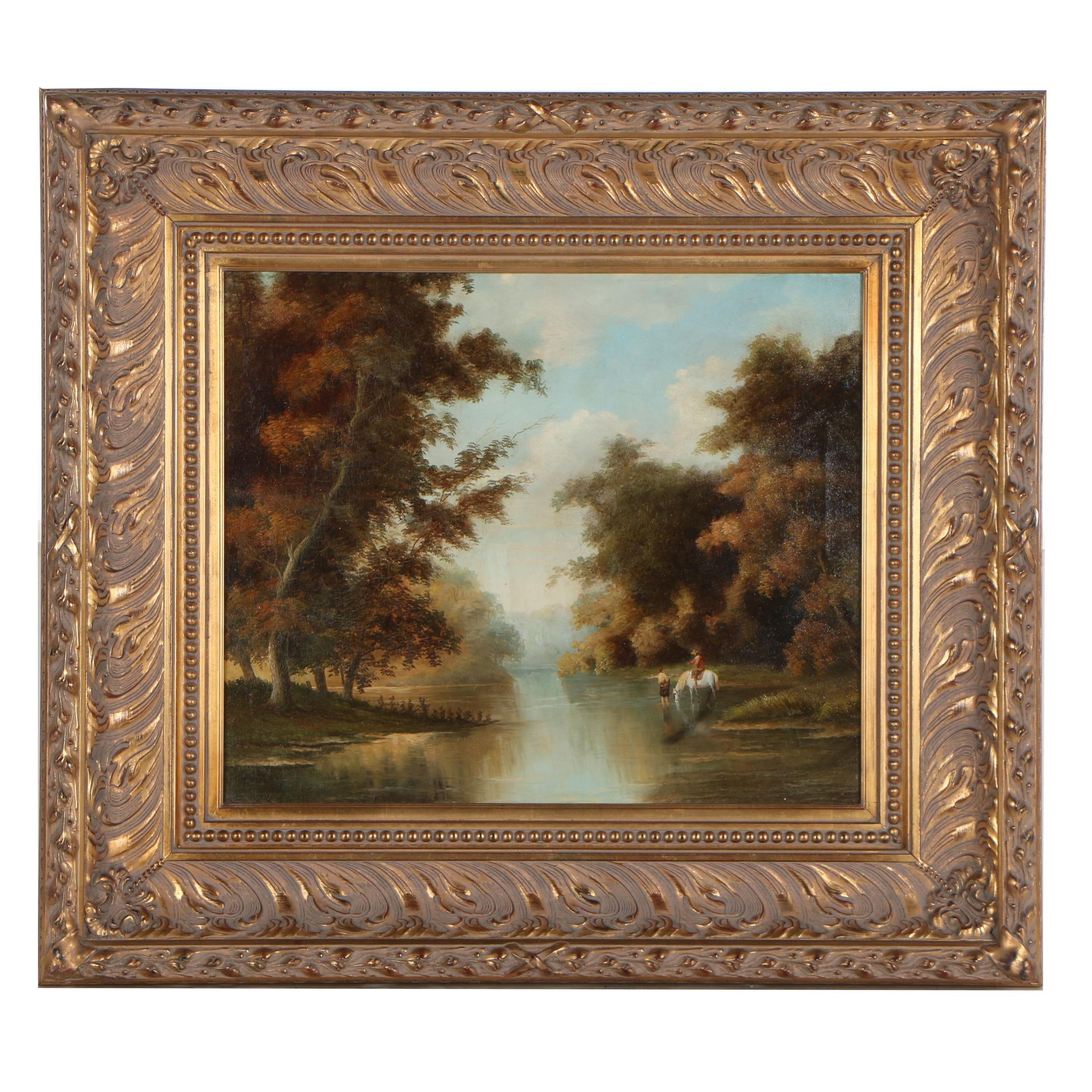 Late 20th Century Oil Painting of Romantic Landscape