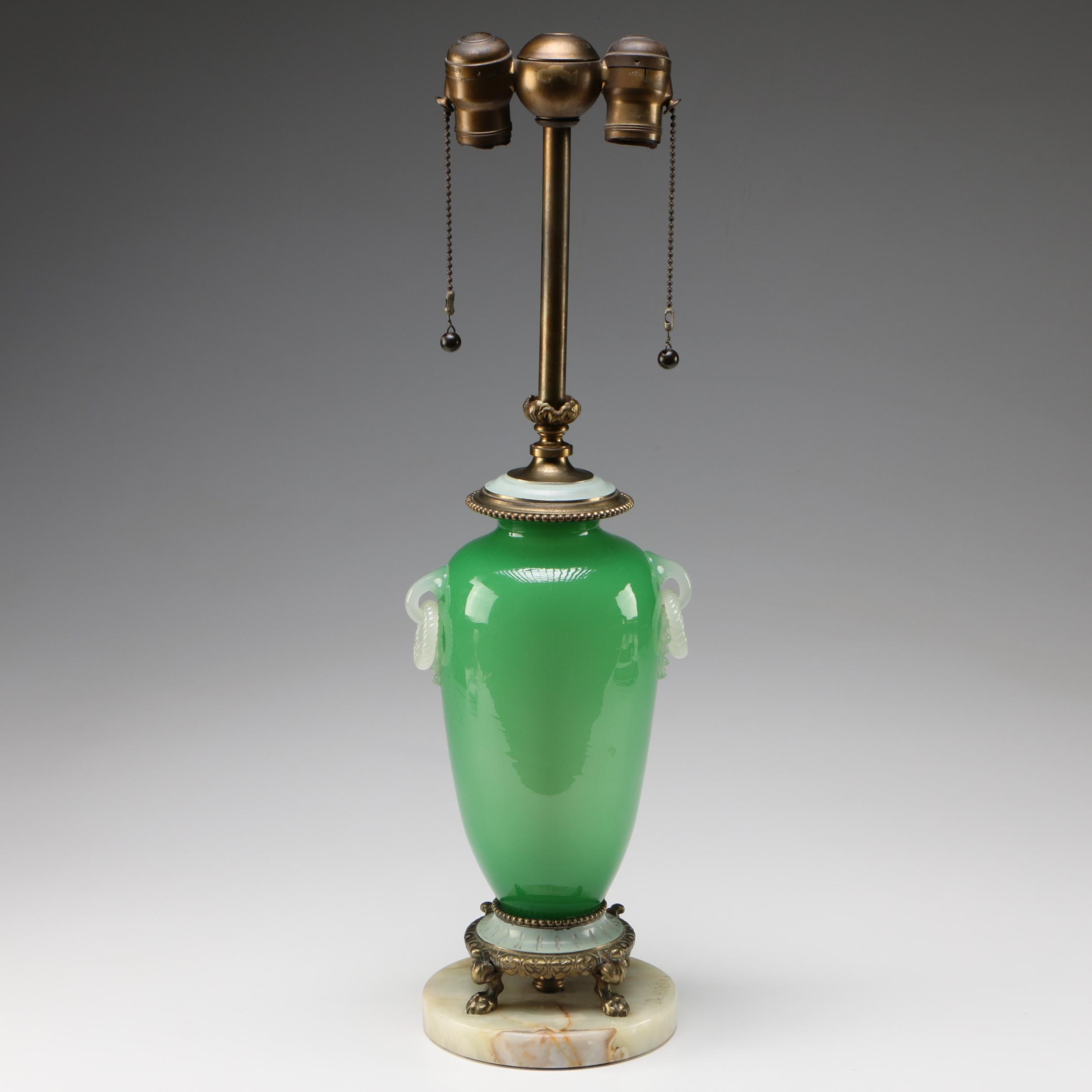 Steuben Green Jade Art Glass Table Lamp on Alabaster Base, 1903 - 1933