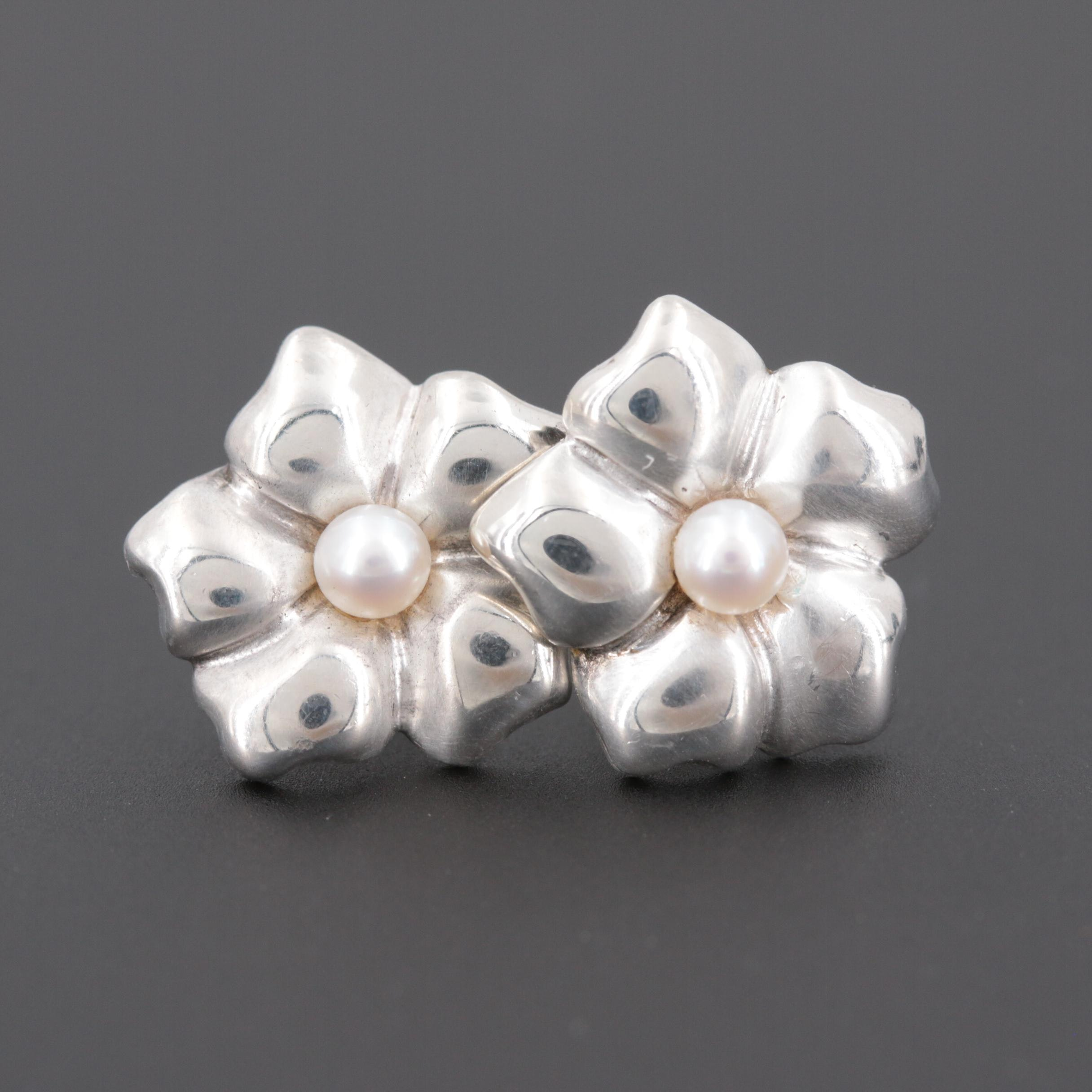 Vintage Tiffany & Co. Sterling Silver Cultured Pearl Floral Earrings