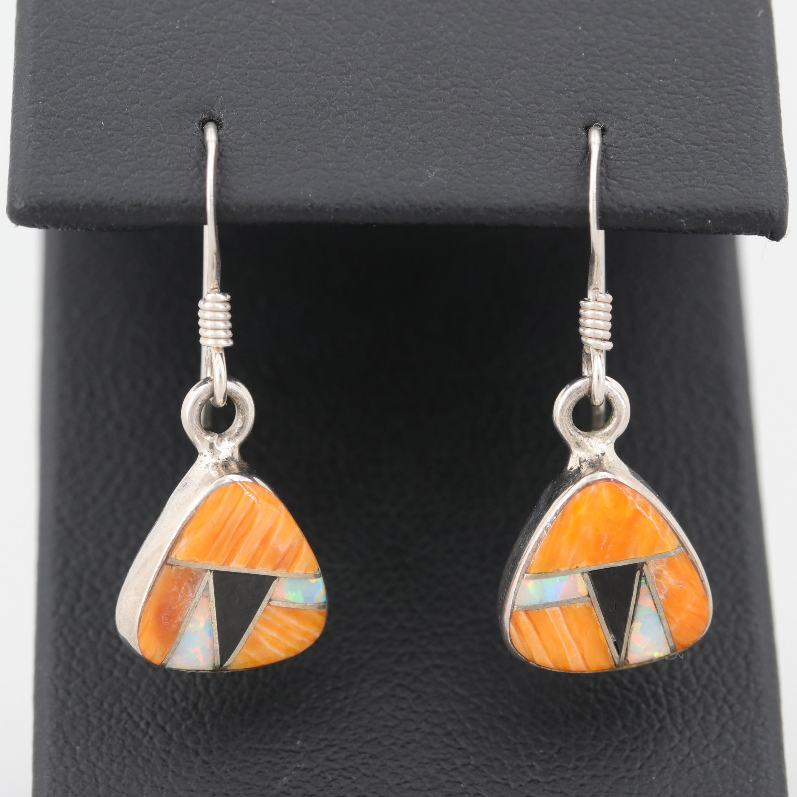 Sterling Silver Spiny Oyster and Synthetic Opal Earrings