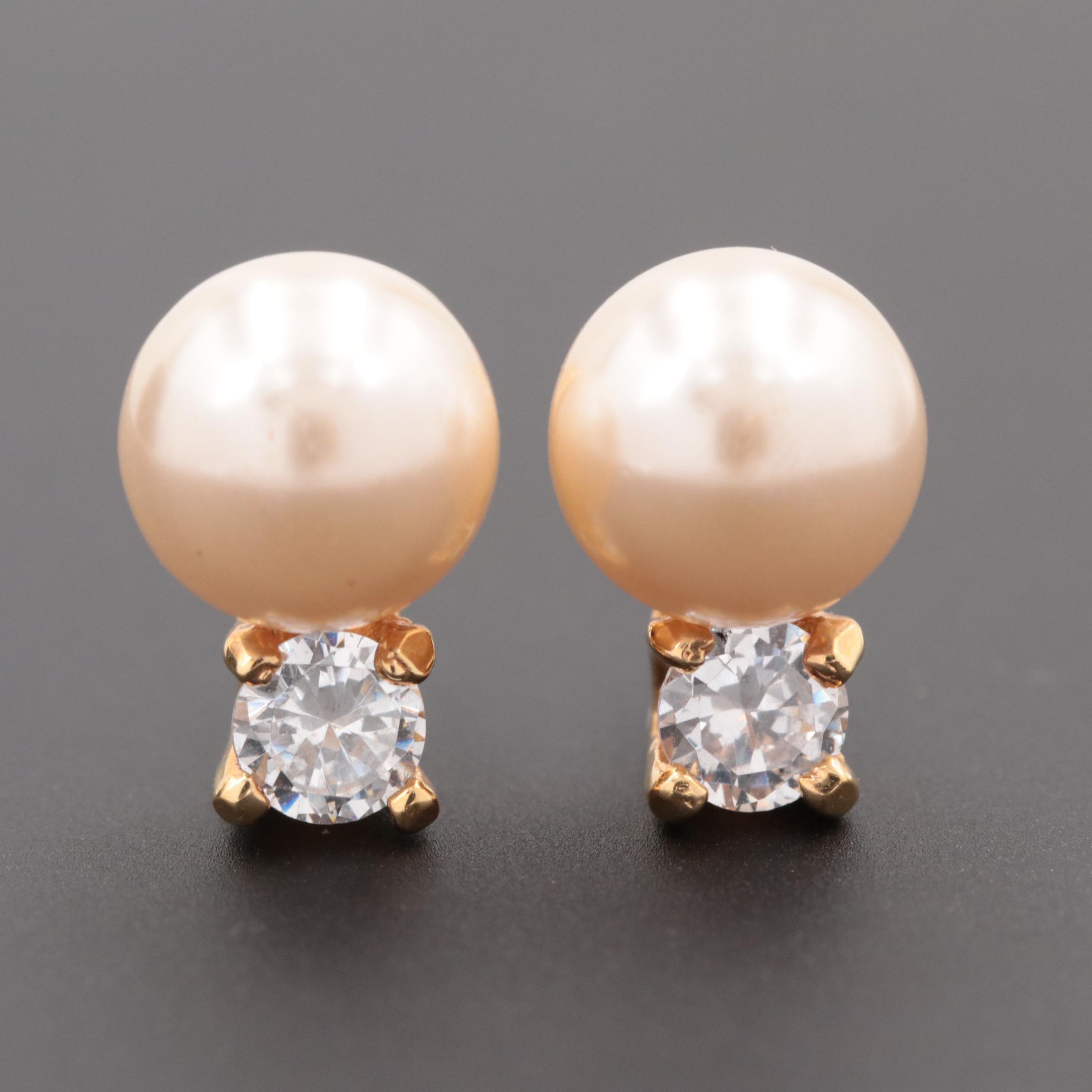 Majorica Gold Tone Imitation Pearl and Cubic Zirconia Earrings