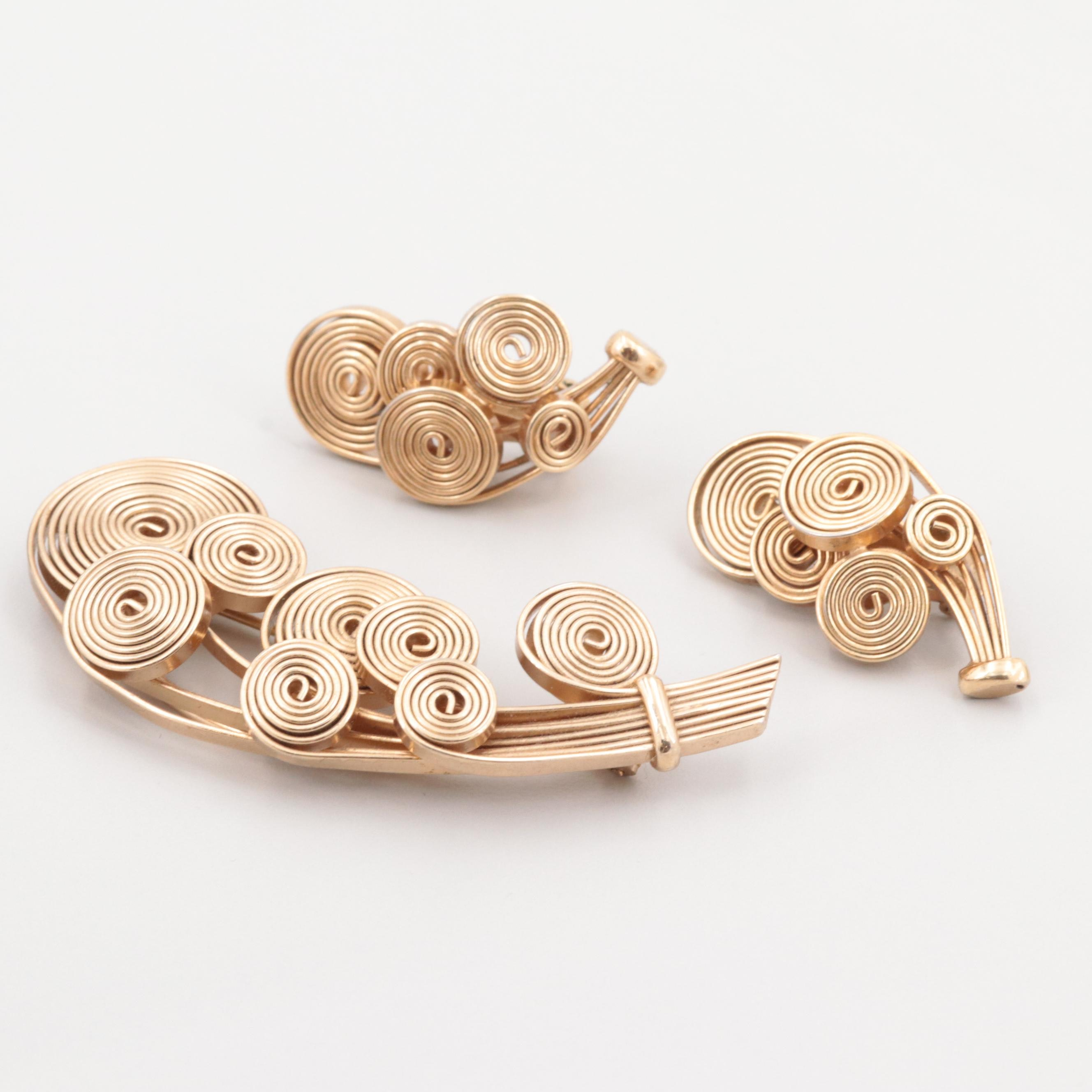 Napier Gold Tone Brooch and Clip-On Earring Set