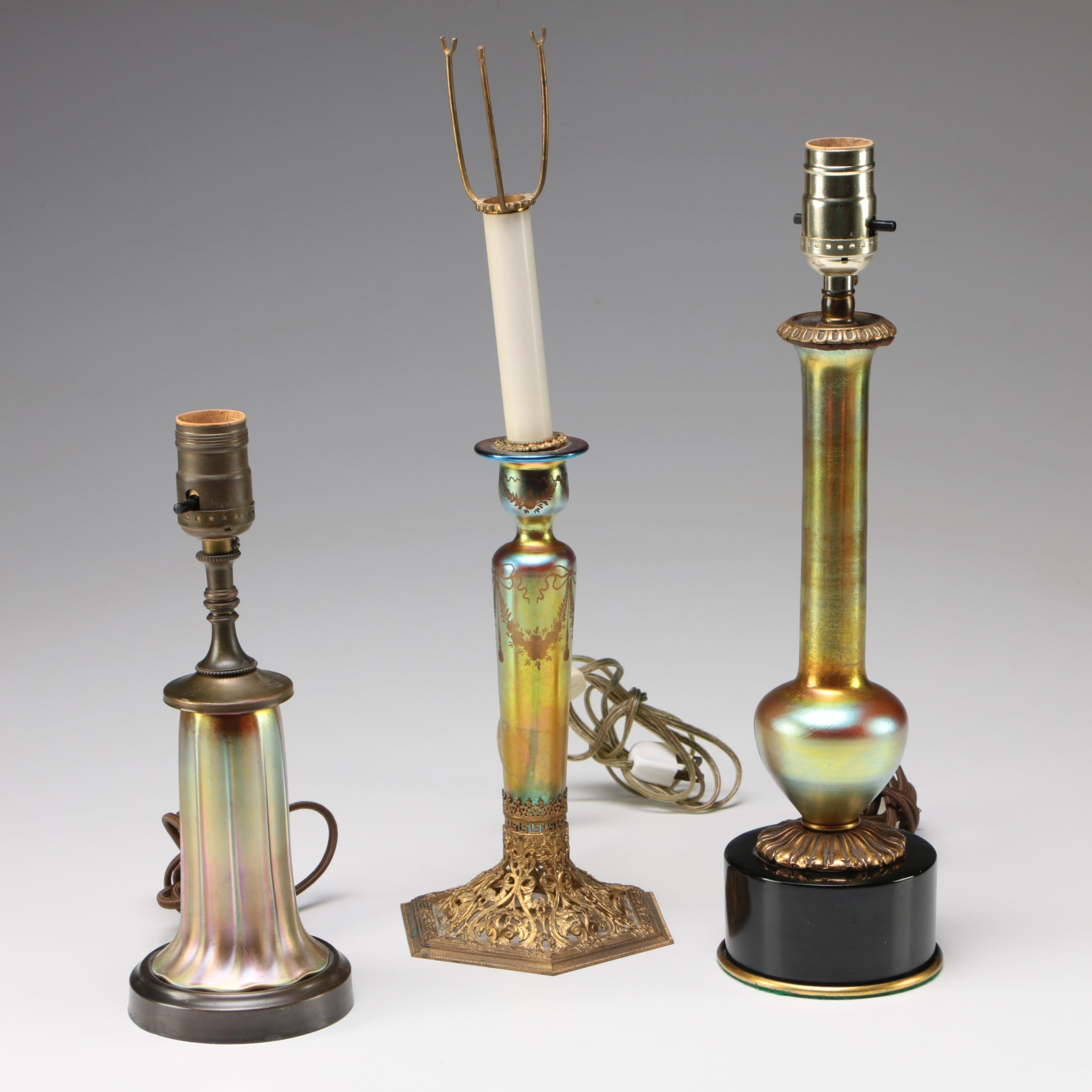 Steuben Gold Aurene Art Glass Table Lamps by Frederick Carder, 1903 - 1933