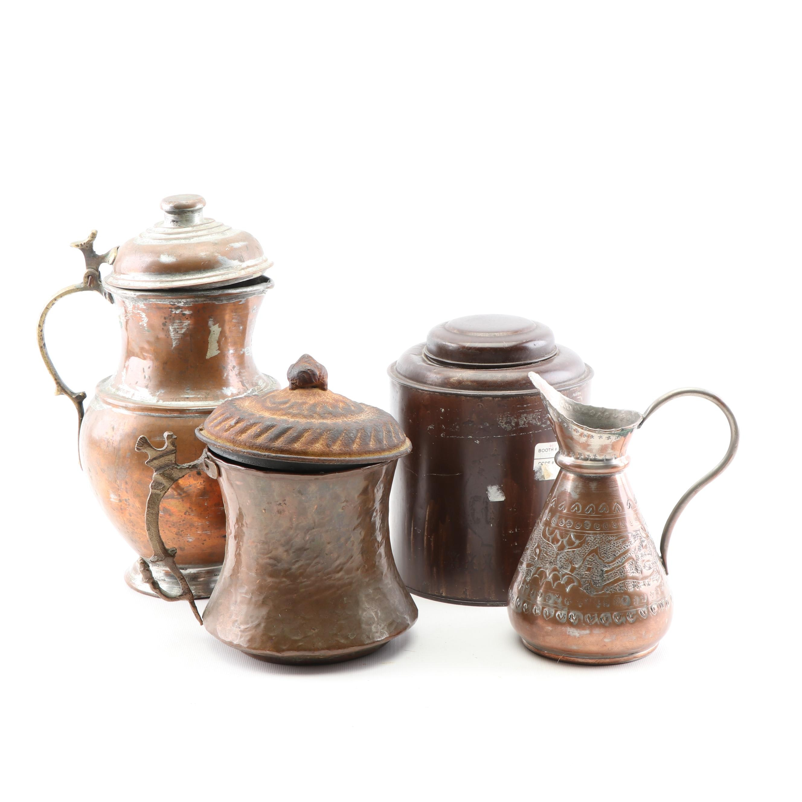 Copper and Metal Serveware including Etched and Hammered Pitcher