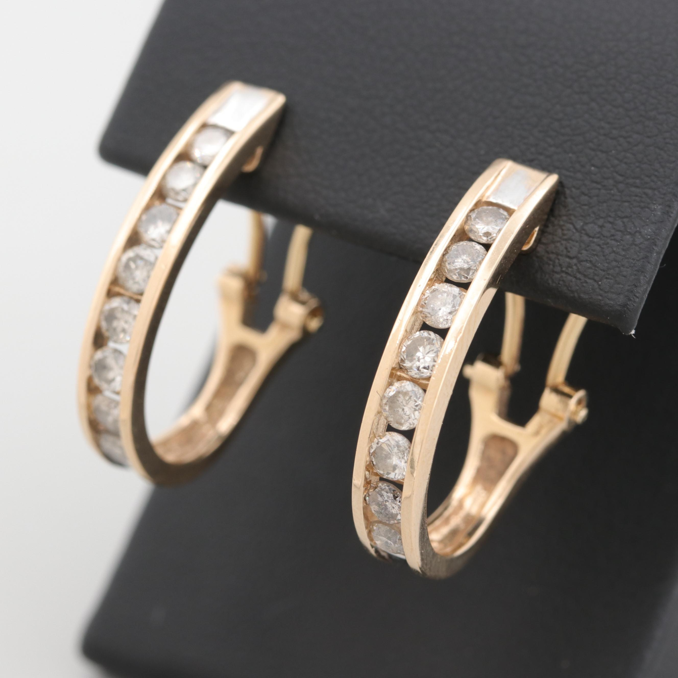 14K Yellow Gold 1.28 CTW Diamond Earrings