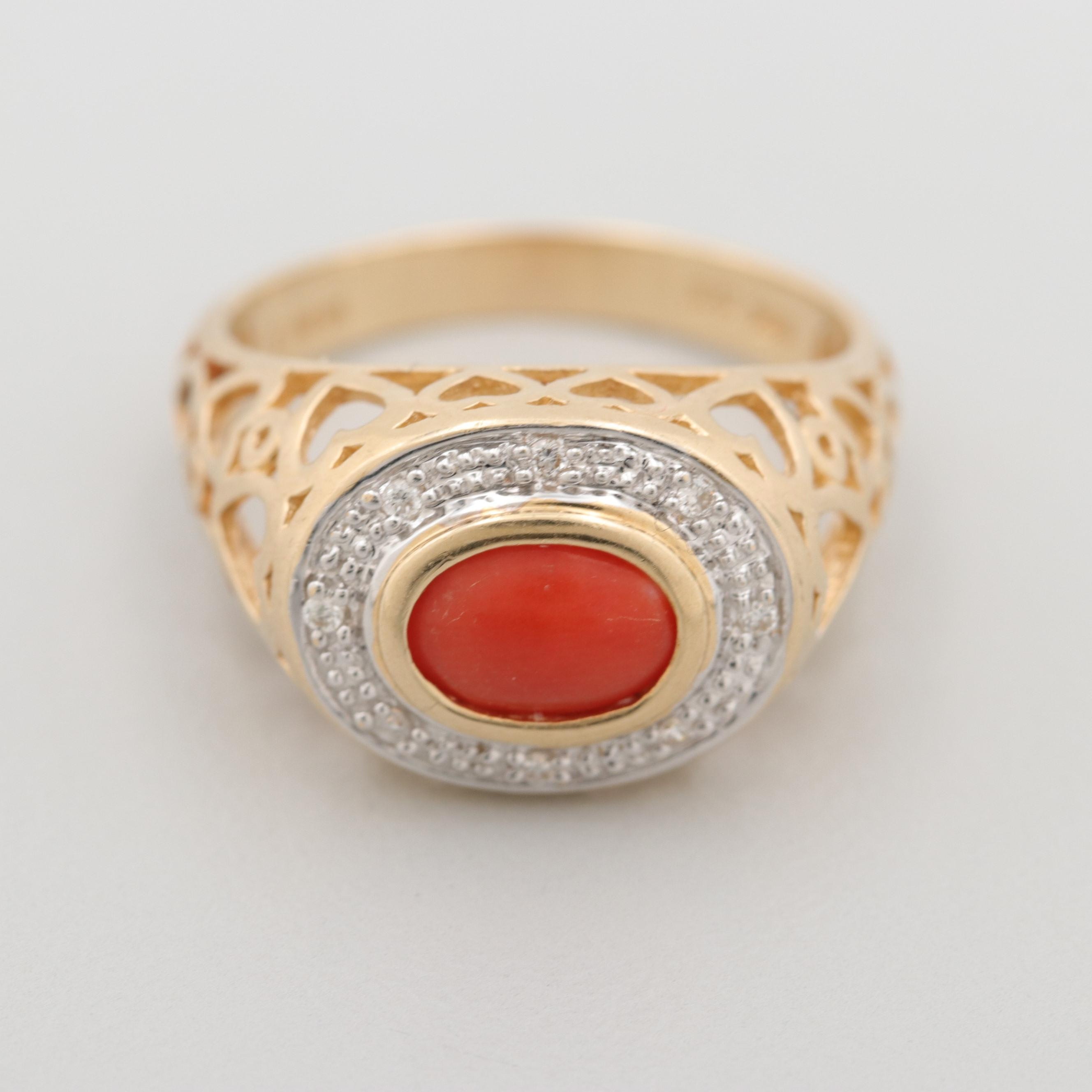 Le Vian 14K Yellow Gold Coral and Diamond Ring