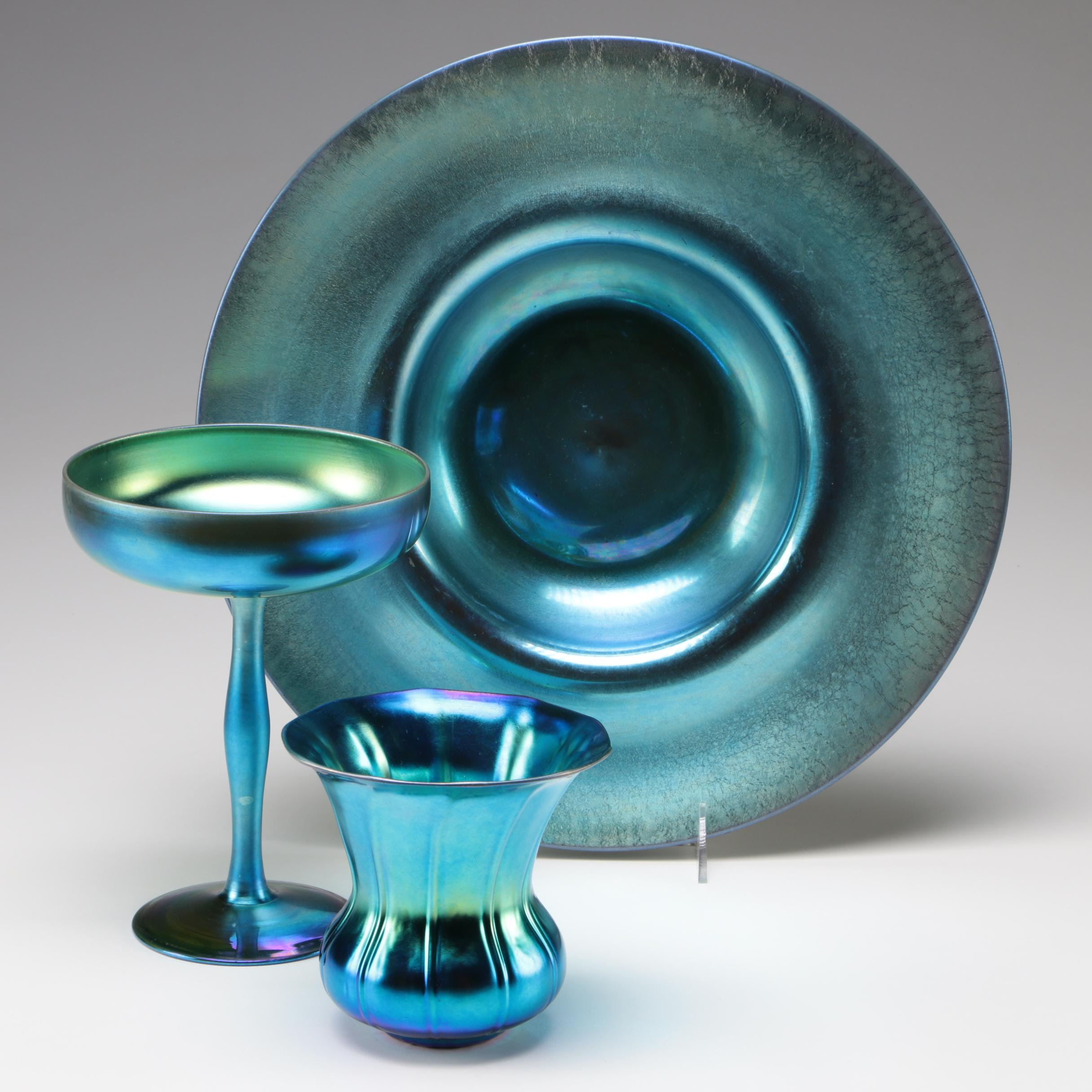 Steuben Blue Aurene Art Glass Compote, Pan and Vase, Early 20th Century