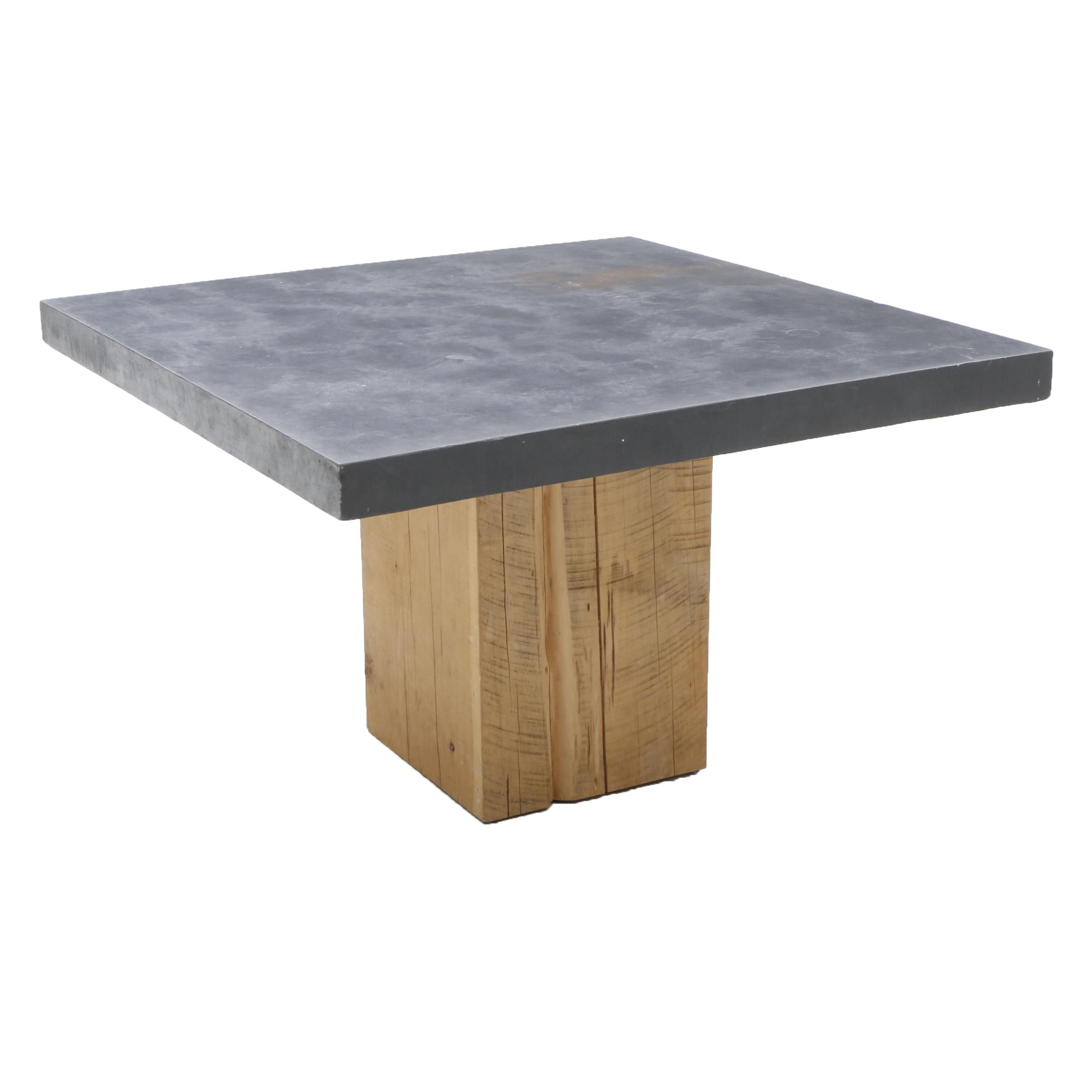 Modern Concrete and Pickled Oak Table