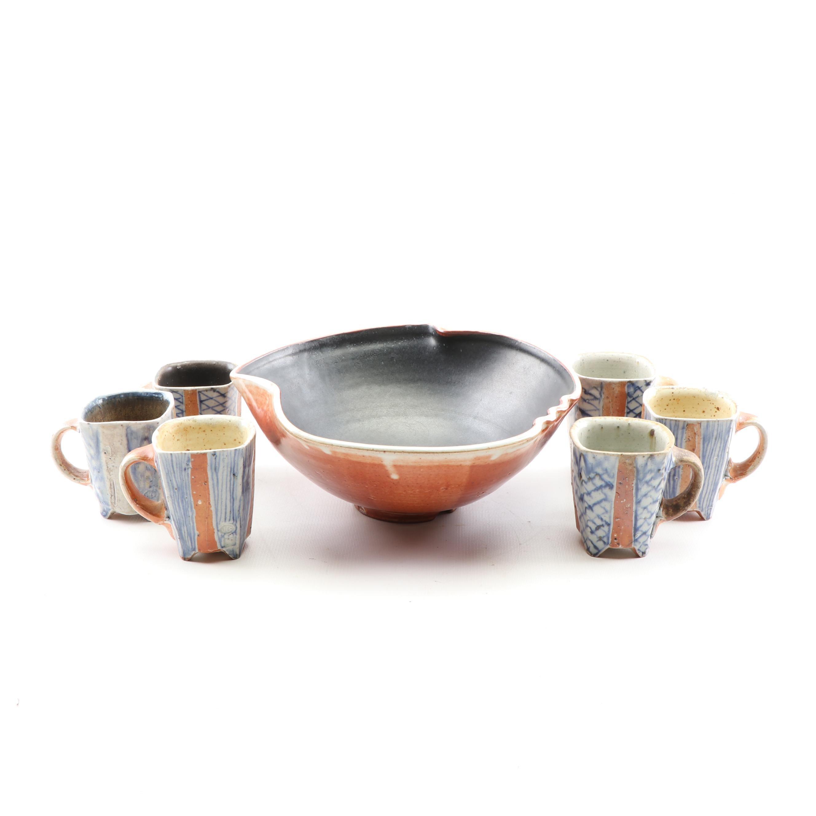 Jason Bohmert Wood Fired Stoneware Mugs and Serving Bowl