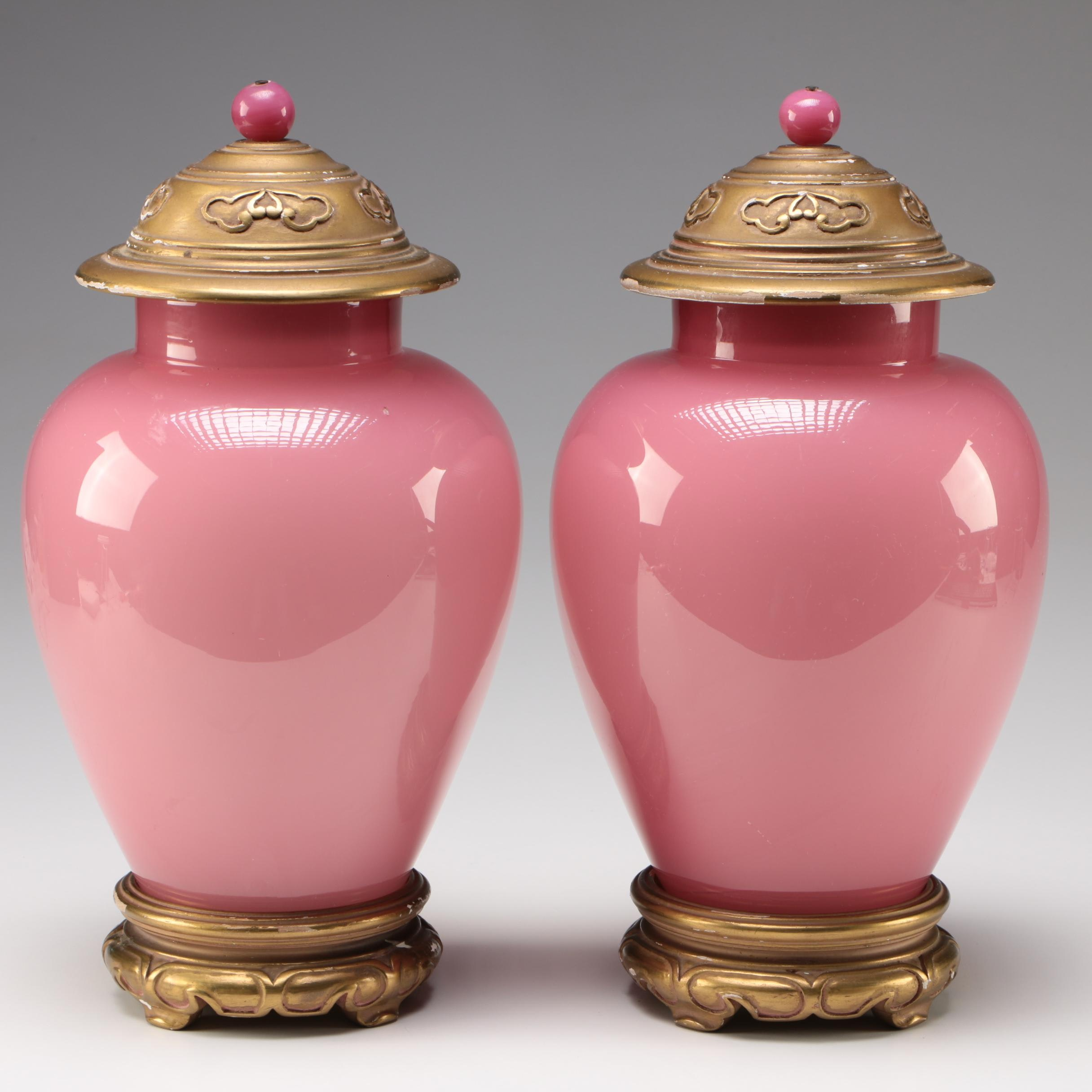 Pair of Steuben Rosaline Art Glass Covered Vases on Stands, 1903 - 1933