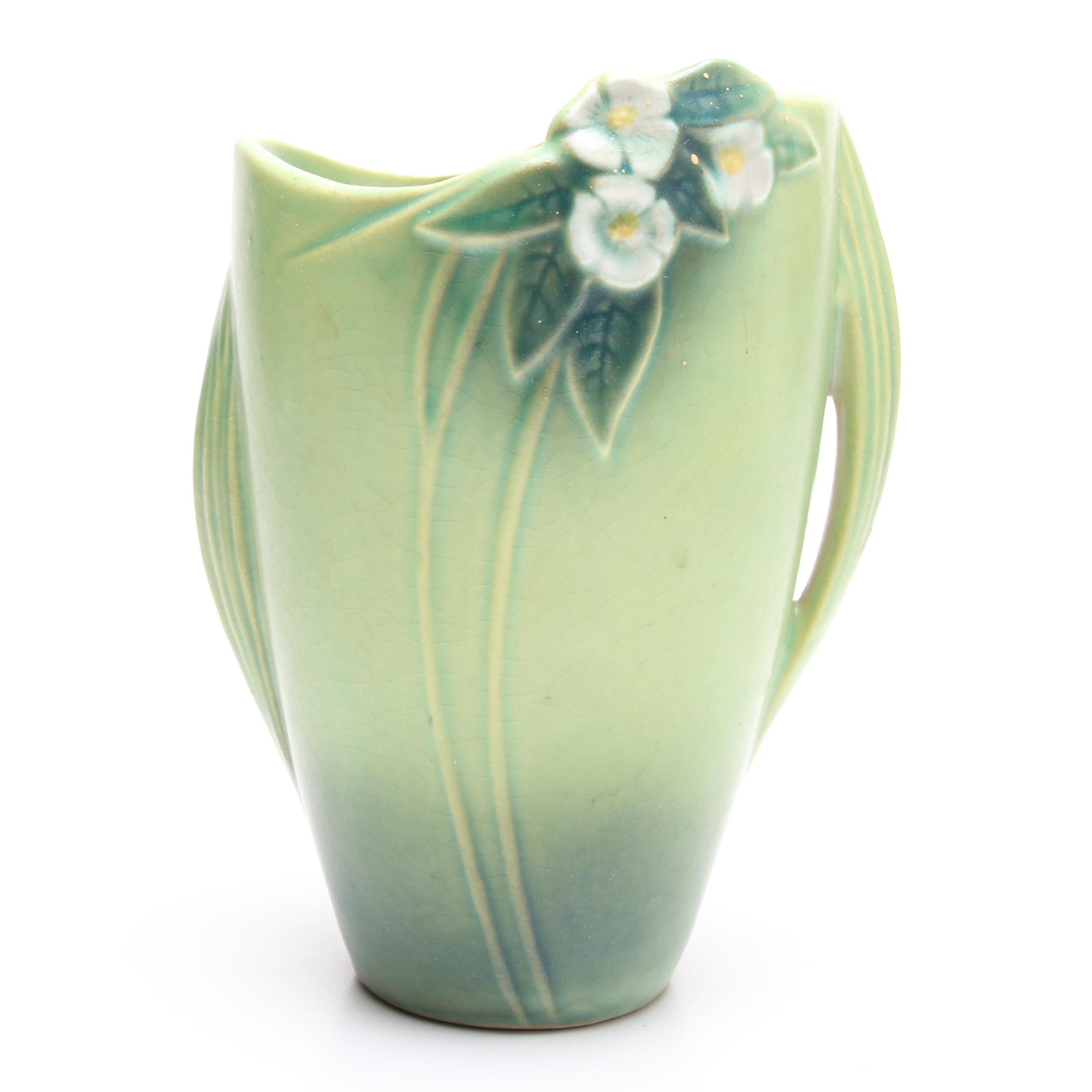 "Roseville Pottery ""Mock Orange"" Green Vase, circa 1930"