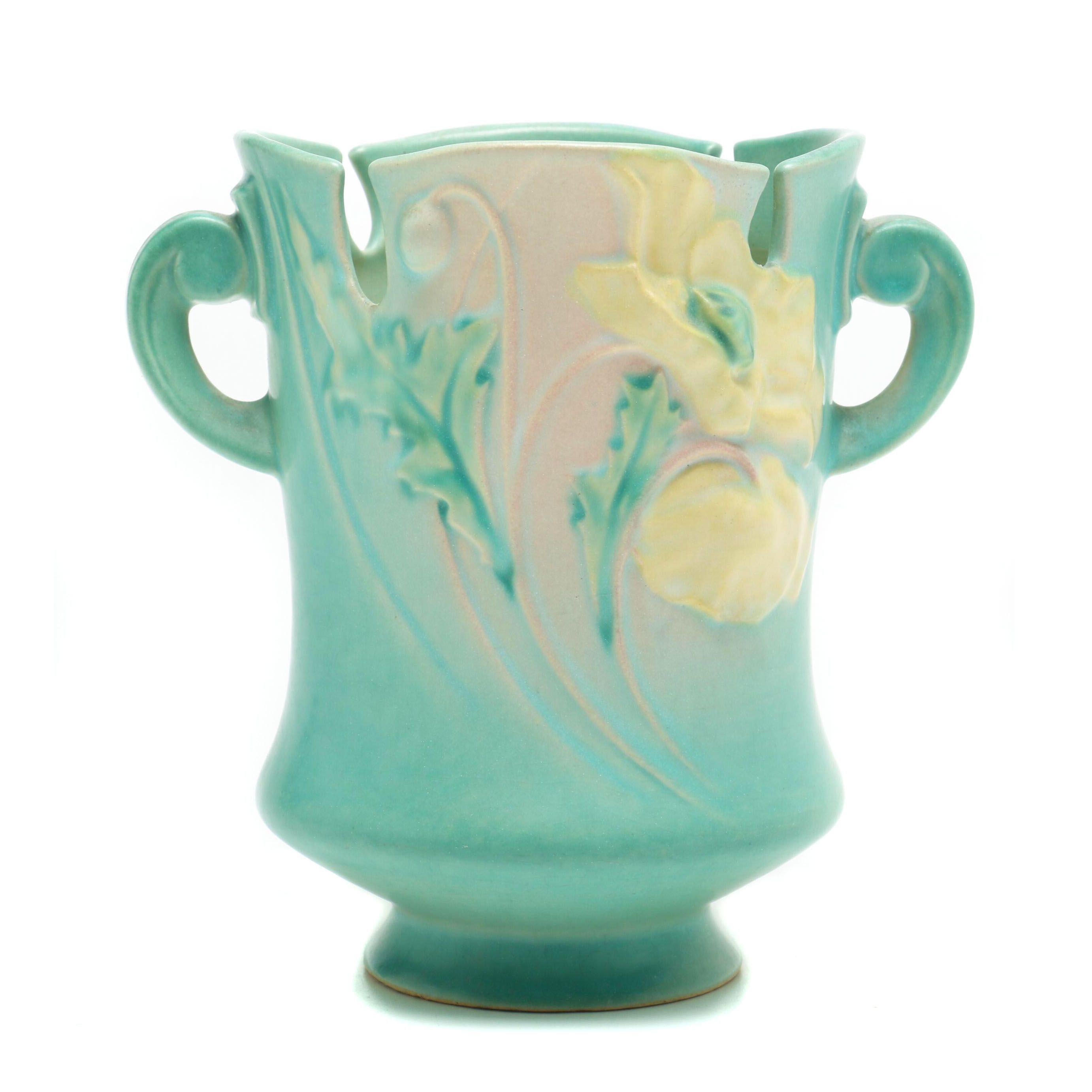"Roseville Pottery ""Poppy"" Green Vase, circa 1930"