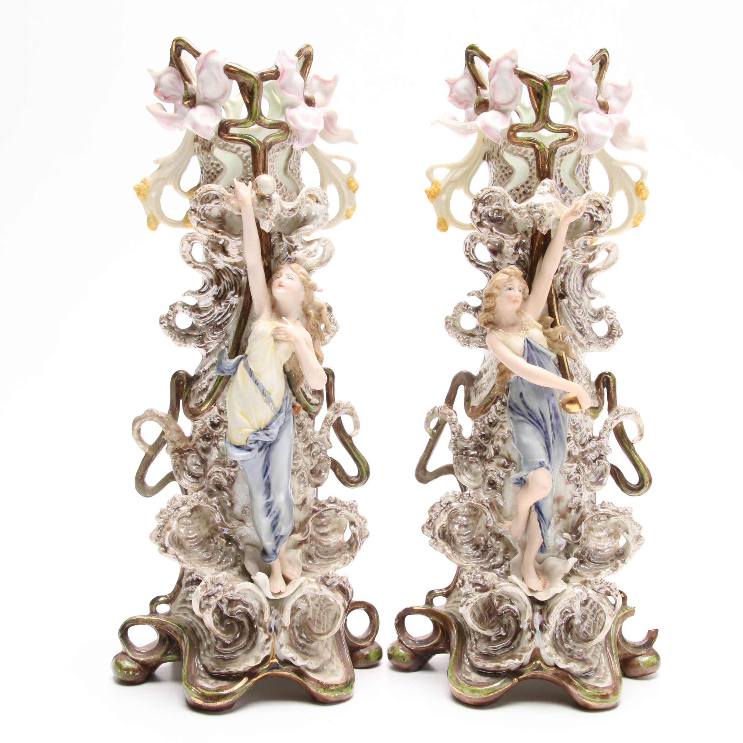 Pair of Antique German Porcelain Figural Vases