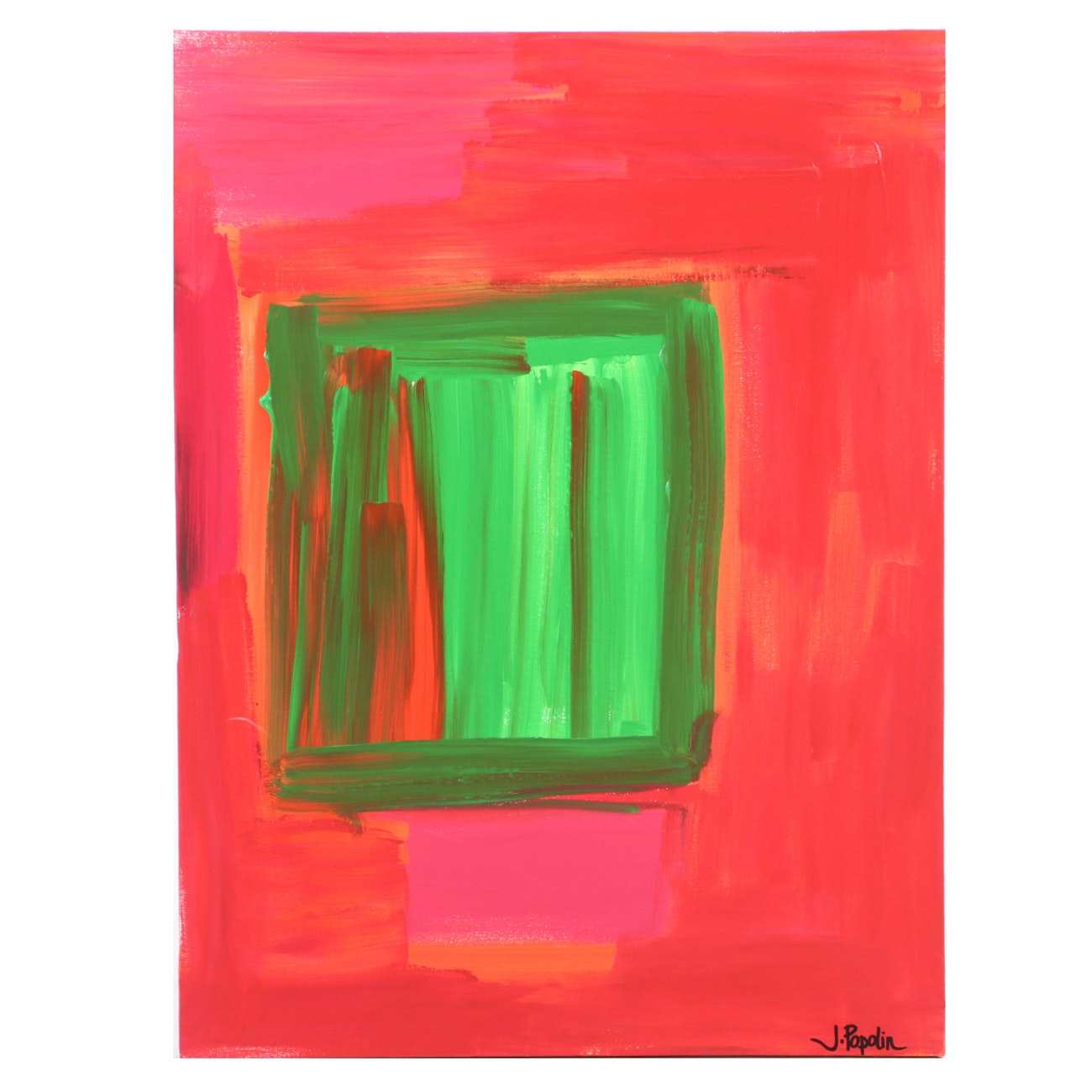 "J. Popolin Acrylic Painting ""Present"""