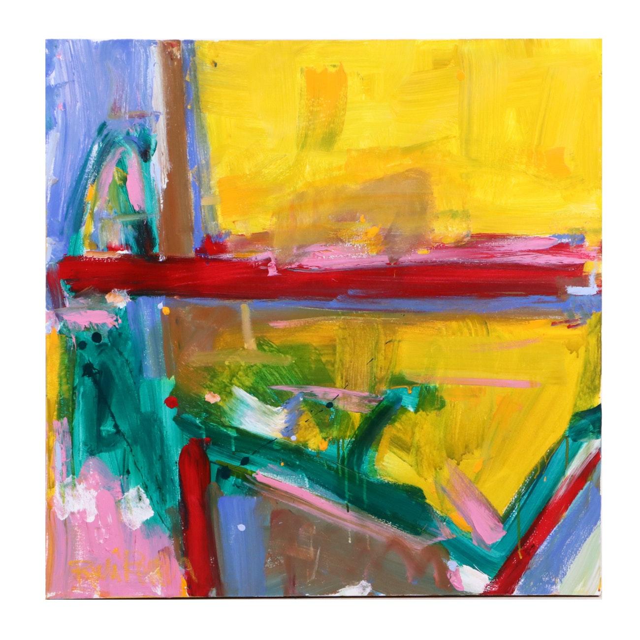 "Robbie Kemper Acrylic Painting ""Orange Stripe"""