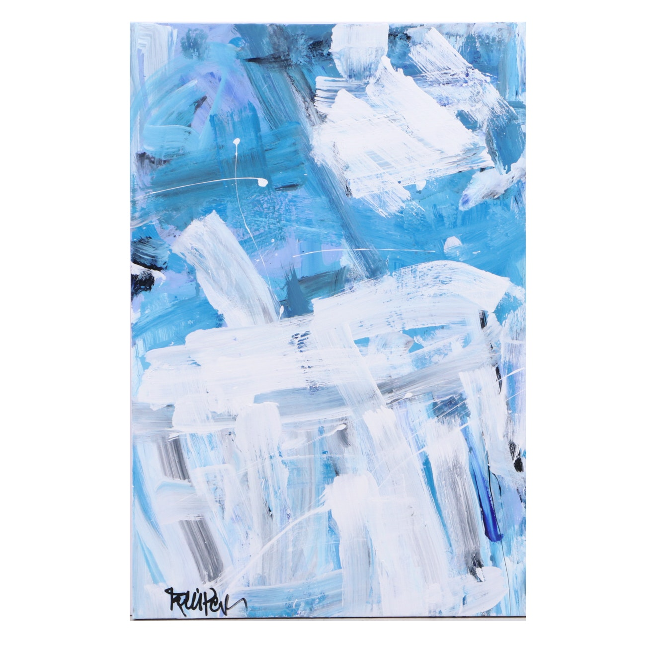 "Robbie Kemper Abstract Acrylic Painting ""White on Blues"""