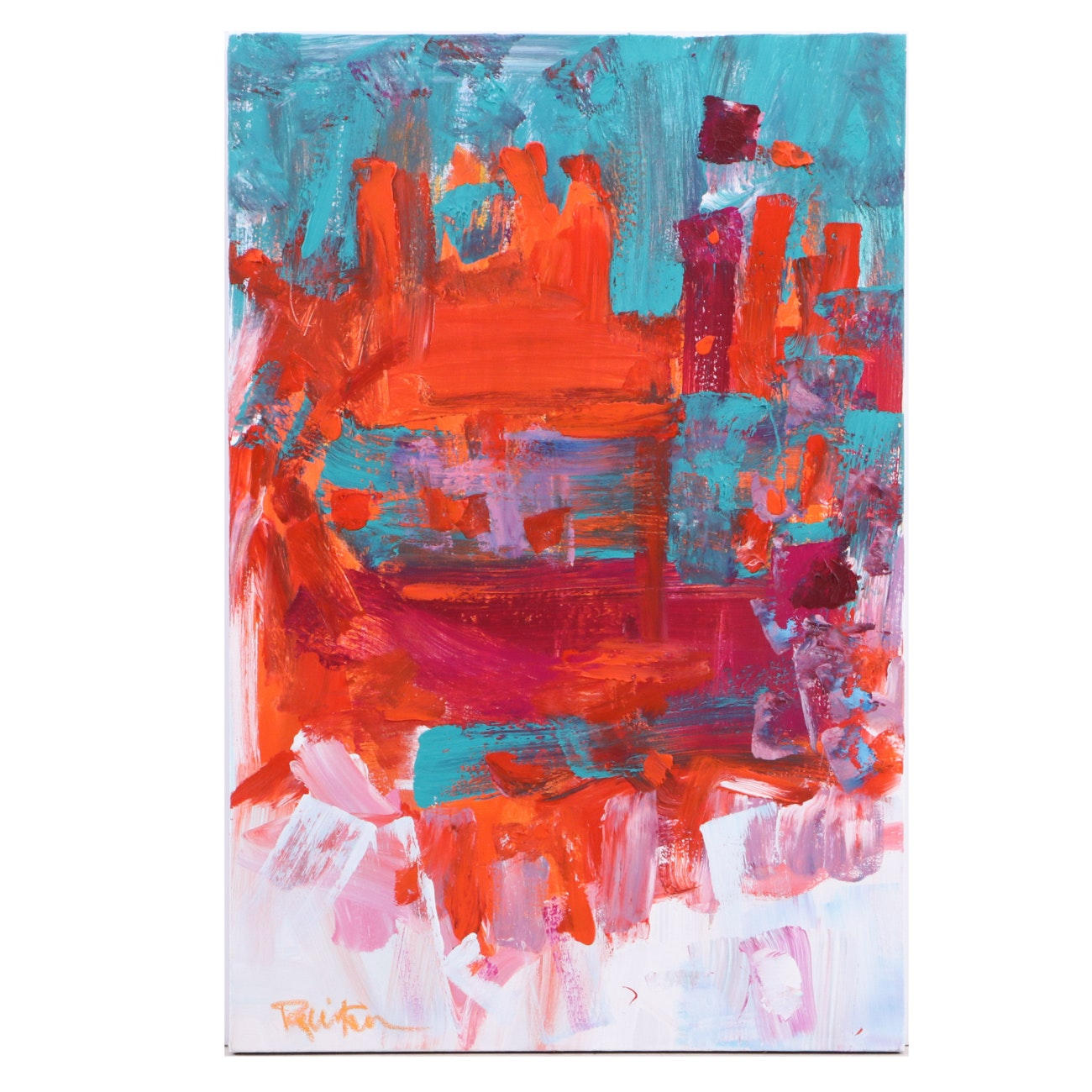 "Robbie Kemper Abstract Acrylic Painting ""Orange Teal"""