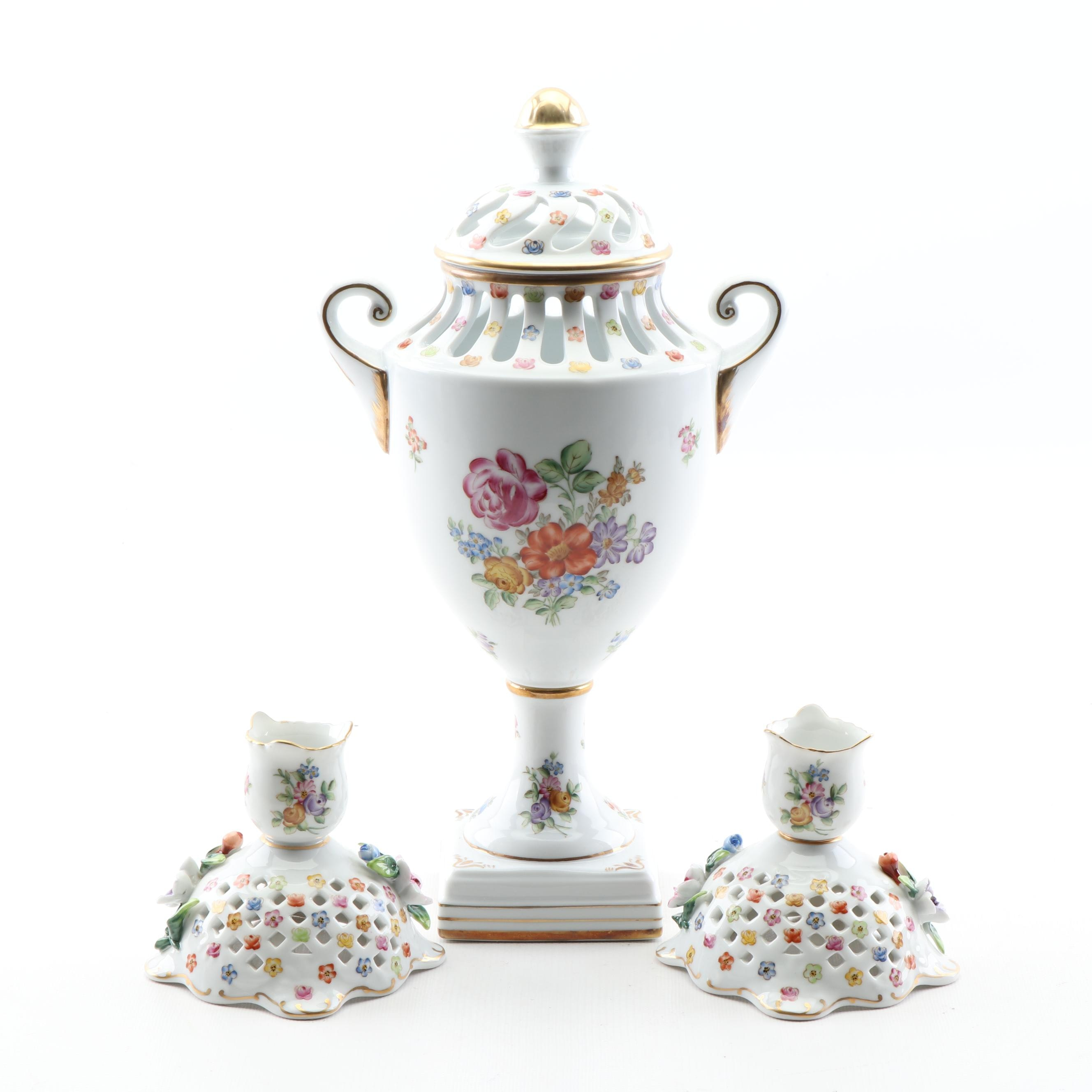 Dresden Hand-Painted Reticulated Porcelain Lidded Urn and Candlesticks, 1890s
