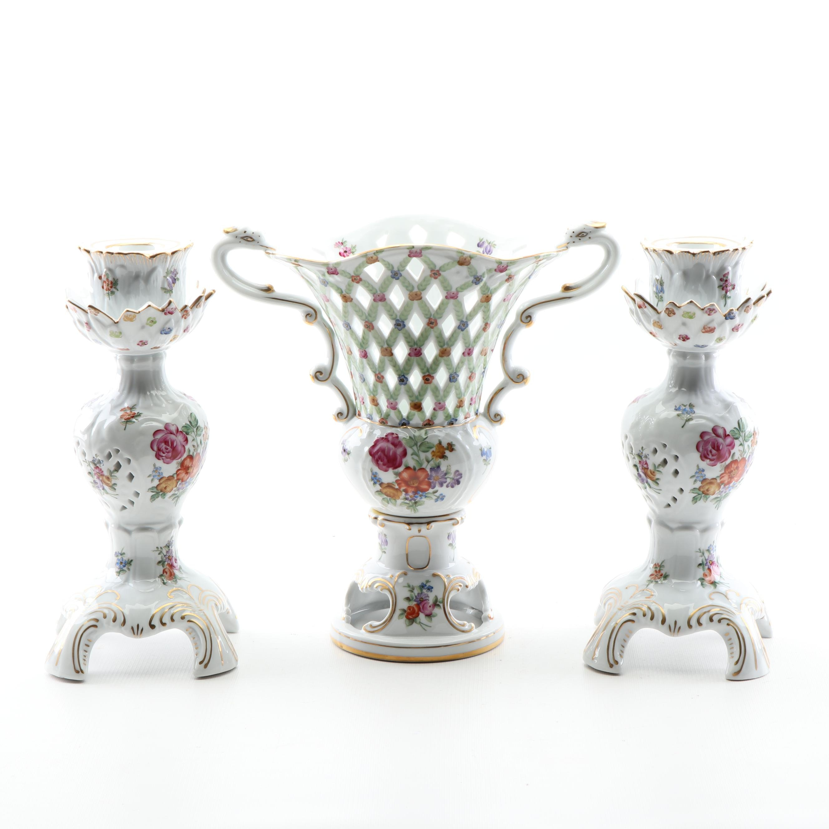 Dresden Hand-Painted Reticulated Porcelain Vase and Candlesticks, 1890s