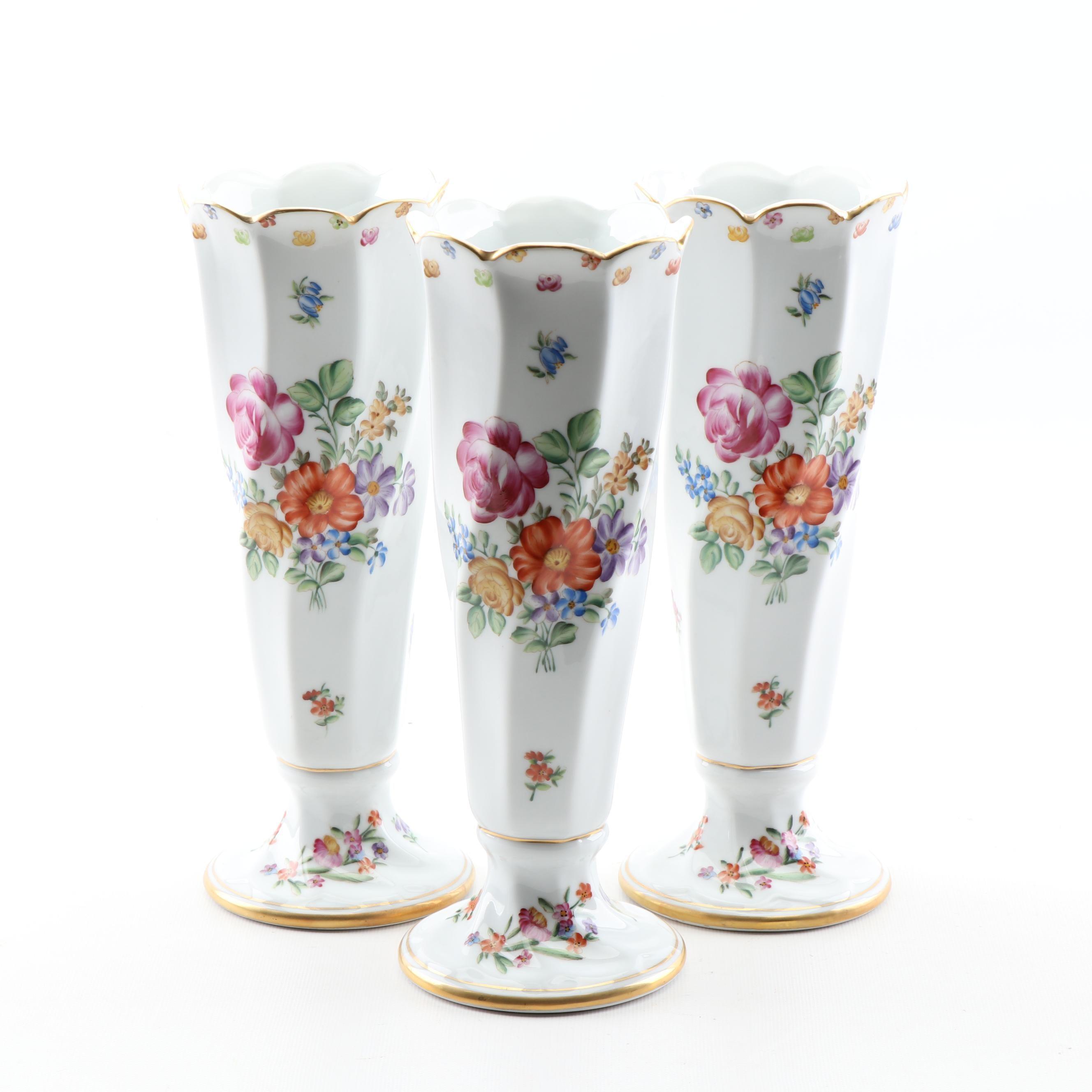 Dresden Porcelain Bud Vases, Late 19th Century