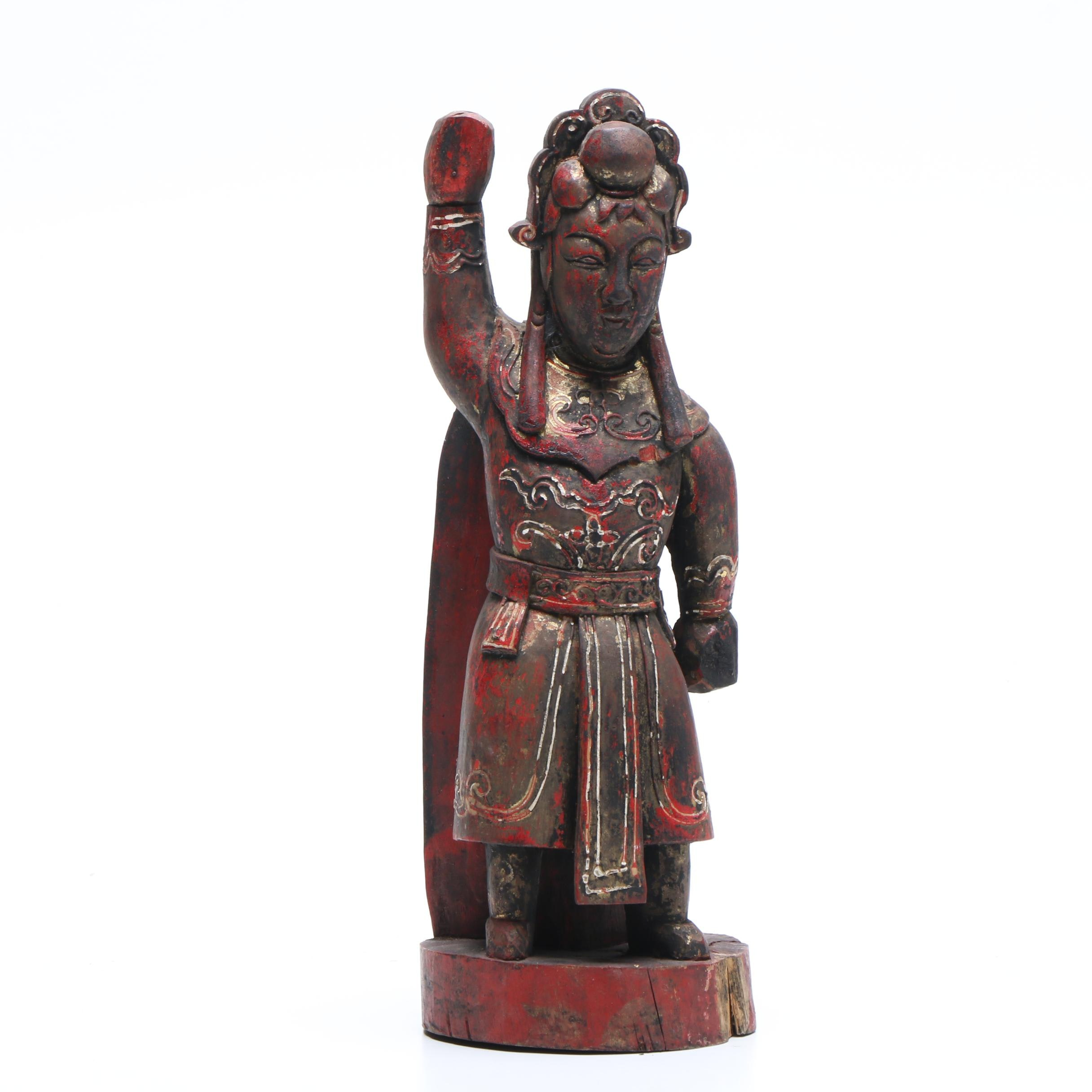 Late Qing Dynasty Chinese Warrior Architectural Carving