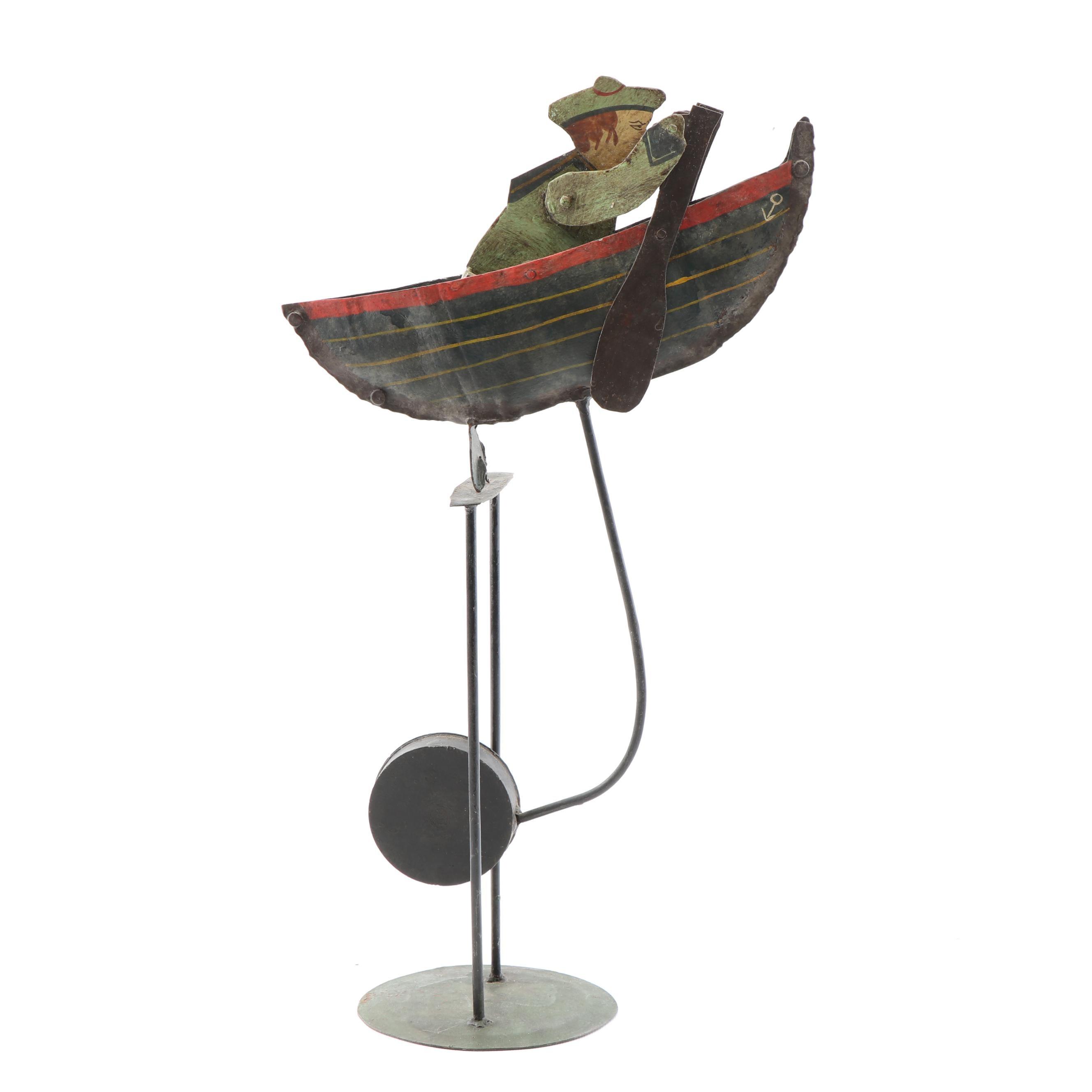 Metal Kinetic Sculpture of Sailor in Boat