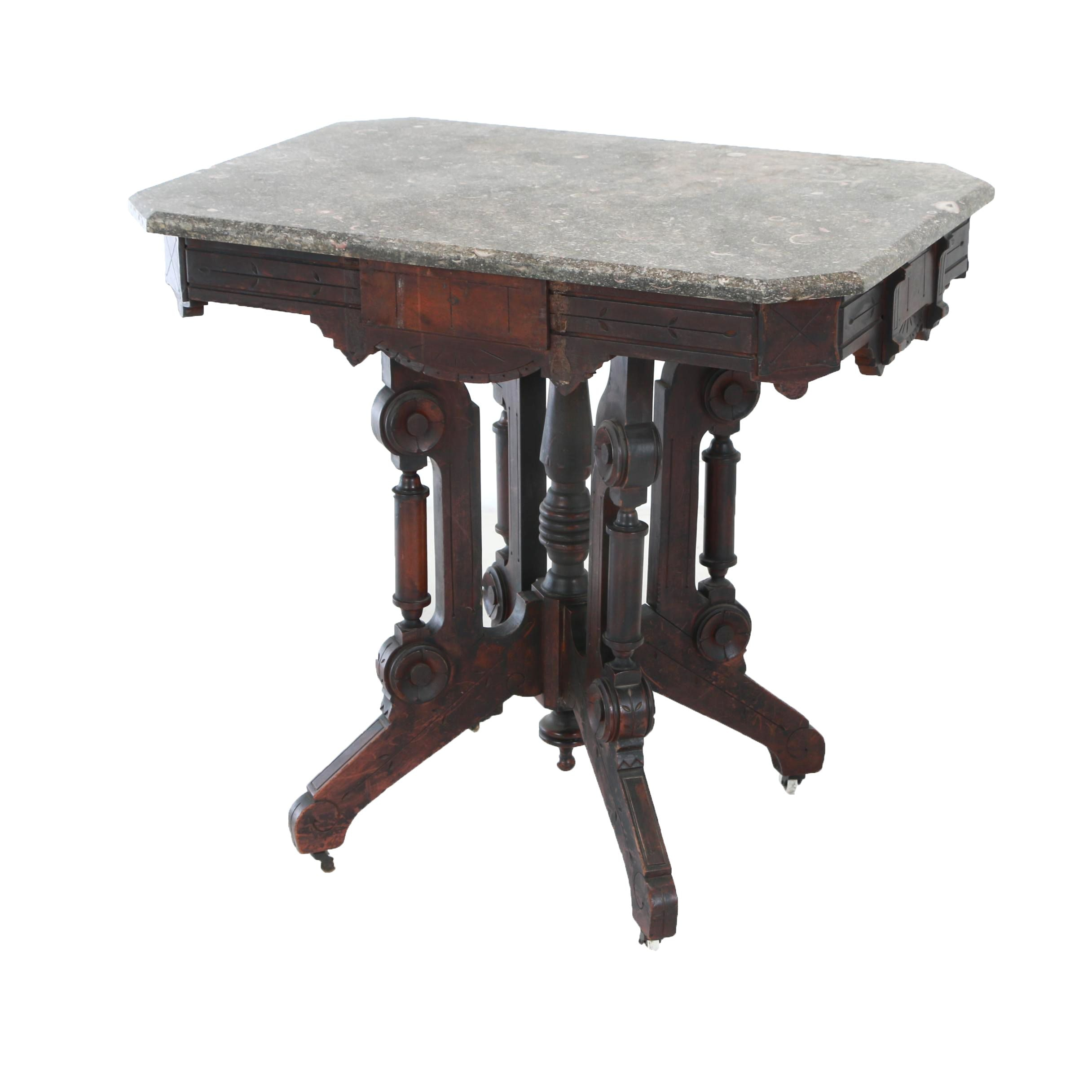 Victorian Walnut and Grey Marble Side Table, Late 19th Century