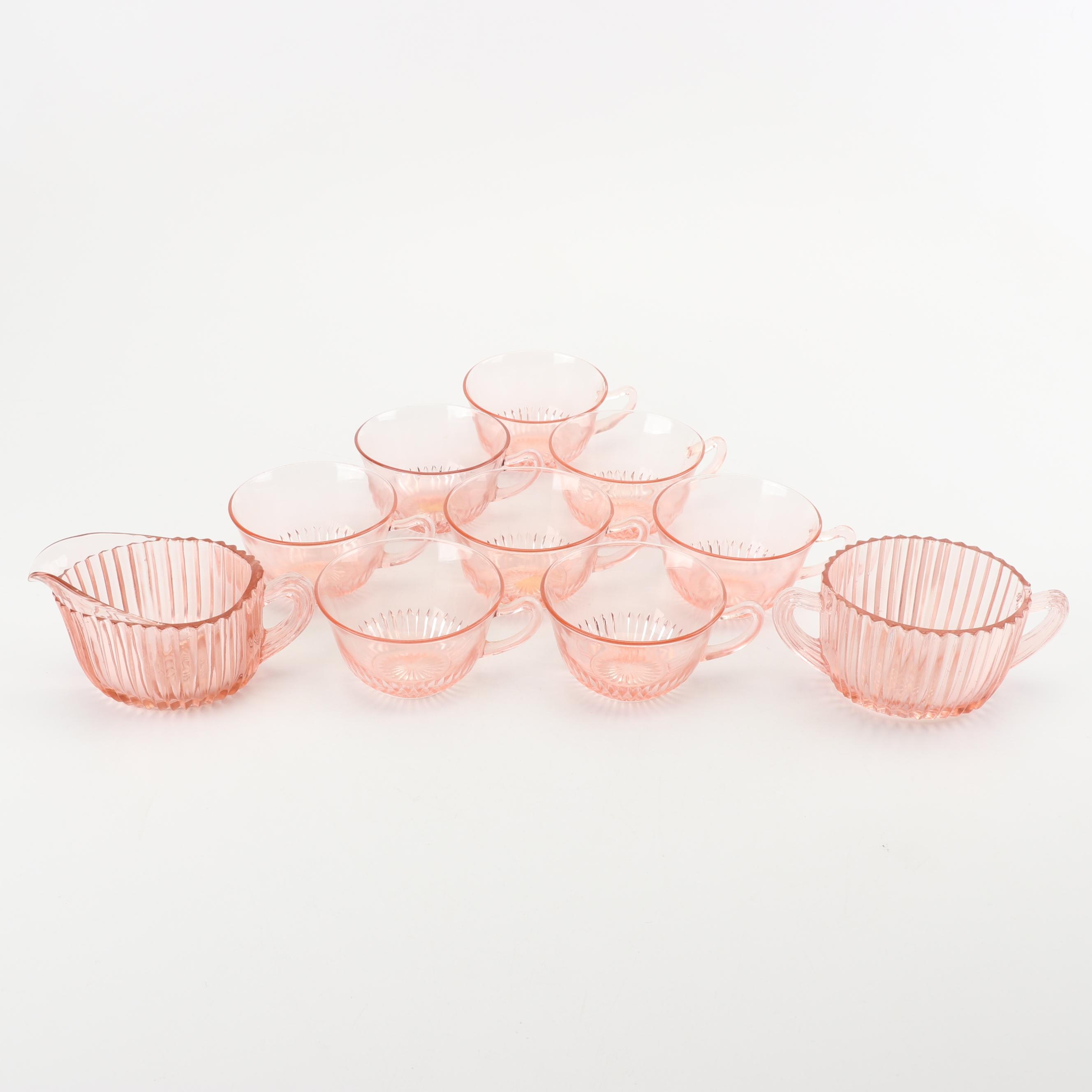 Pink Depression Glass Cups with Creamer and Sugar Set featuring Anchor Hocking