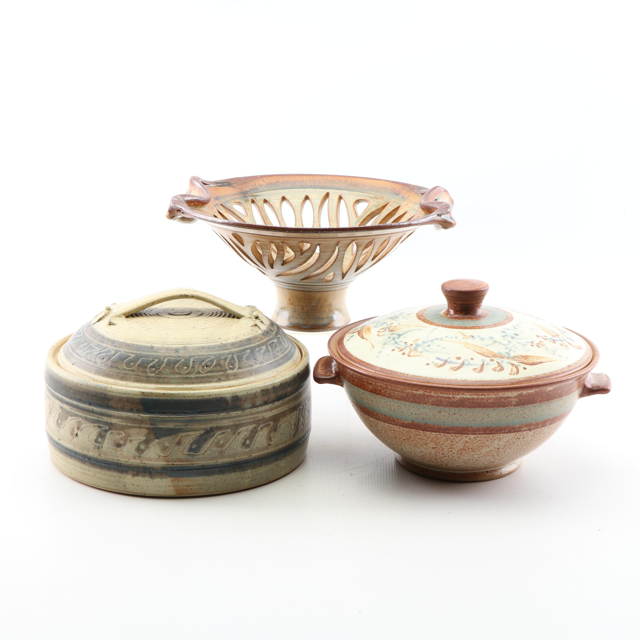 Wheel Thrown Reticulated and Covered Stoneware Serveware